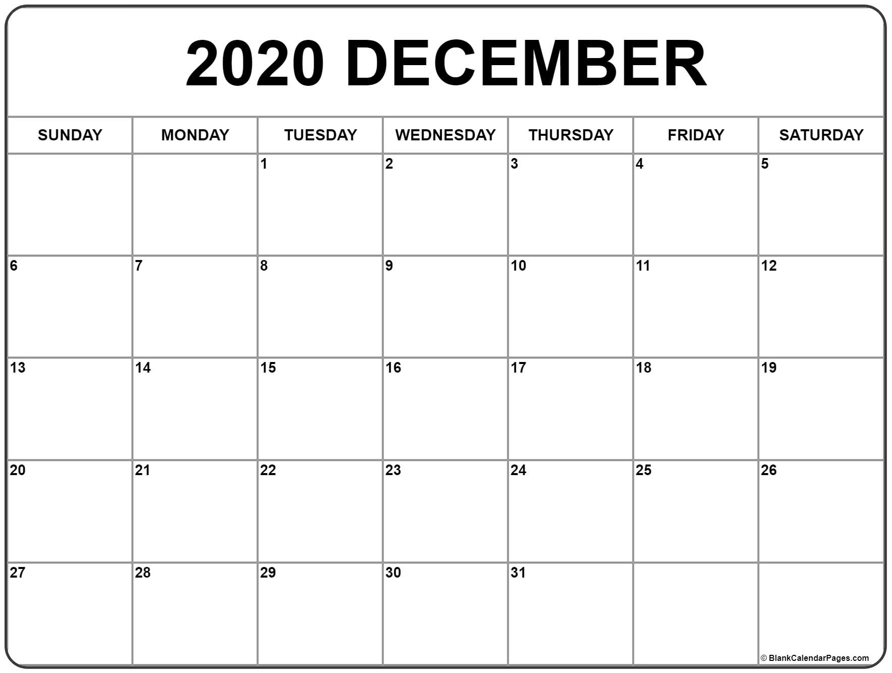 December 2020 Calendar | Free Printable Monthly Calendars inside Blank Bold December Calendar