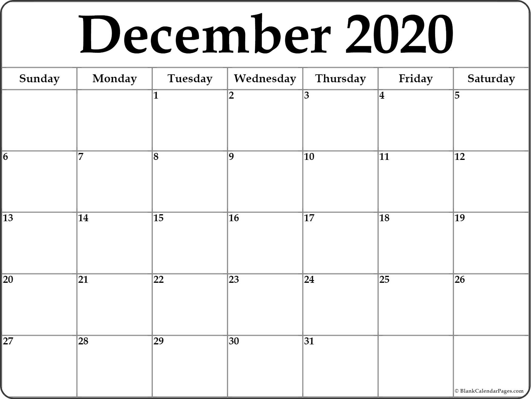 December 2020 Calendar | Free Printable Monthly Calendars intended for December Blank Monthly Calendar