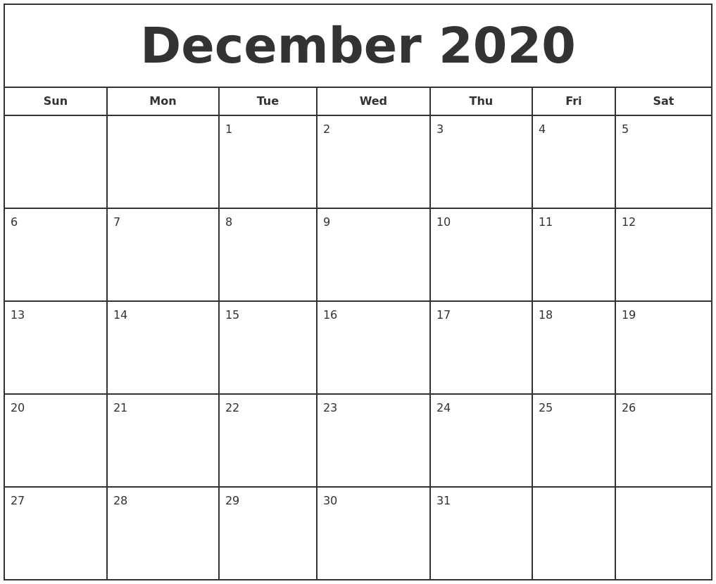 December 2020 Print Free Calendar within Print Free 2020 Calendars Without Downloading