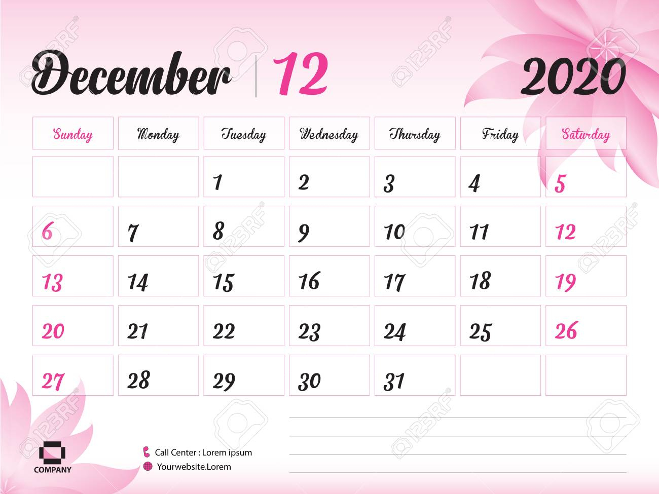 December 2020 Year Template, Calendar 2020, Desk Calendar Design,.. intended for 2020 Printable Calendar With Sunday And Saturday Pink Color
