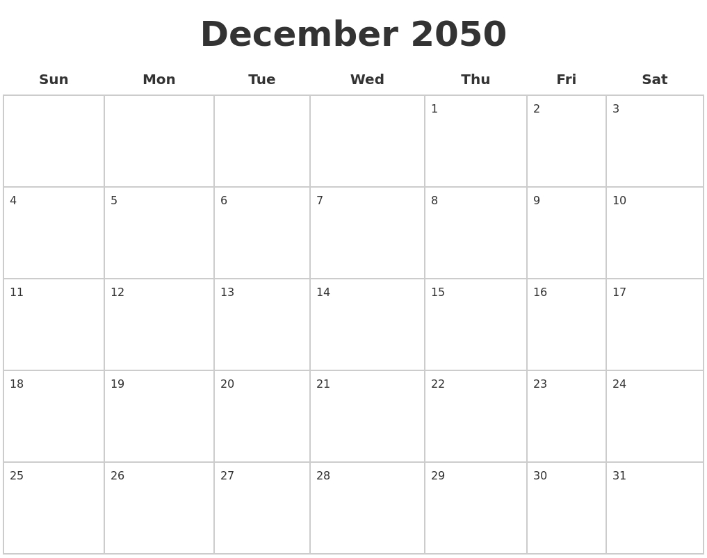December 2050 Blank Calendar Pages throughout Blank Dec Calendar Pages