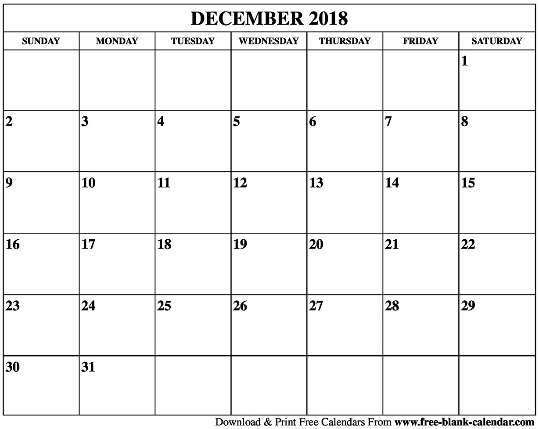 December Calendar 2018 Pdf - Free Printable Calendar, Blank Template for December Calendar Printable Template