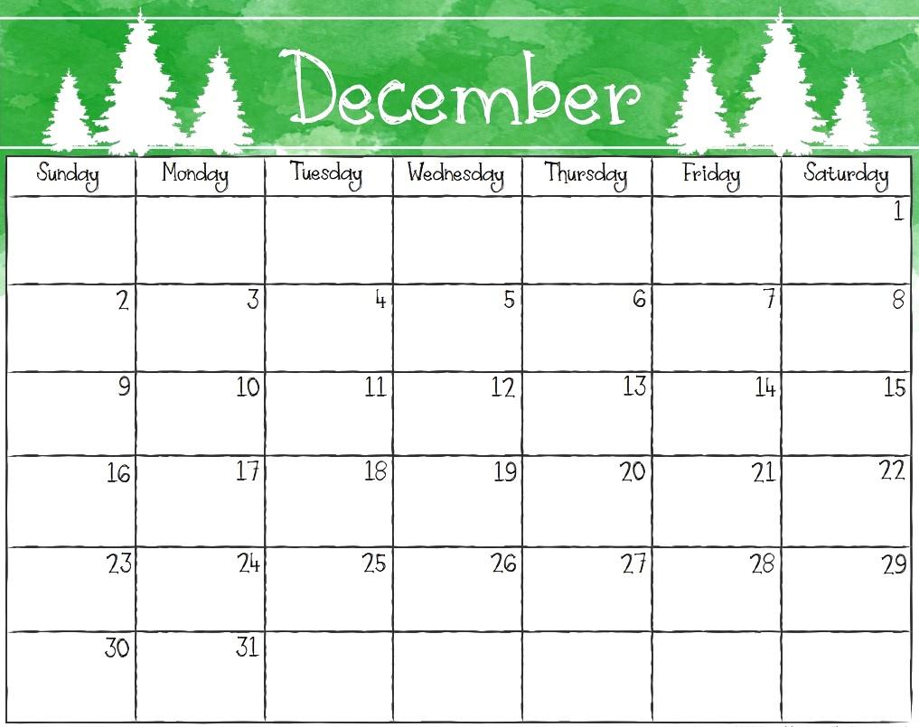 December Calendar 2018 Printable Editable Template in December Calendar Printable Template