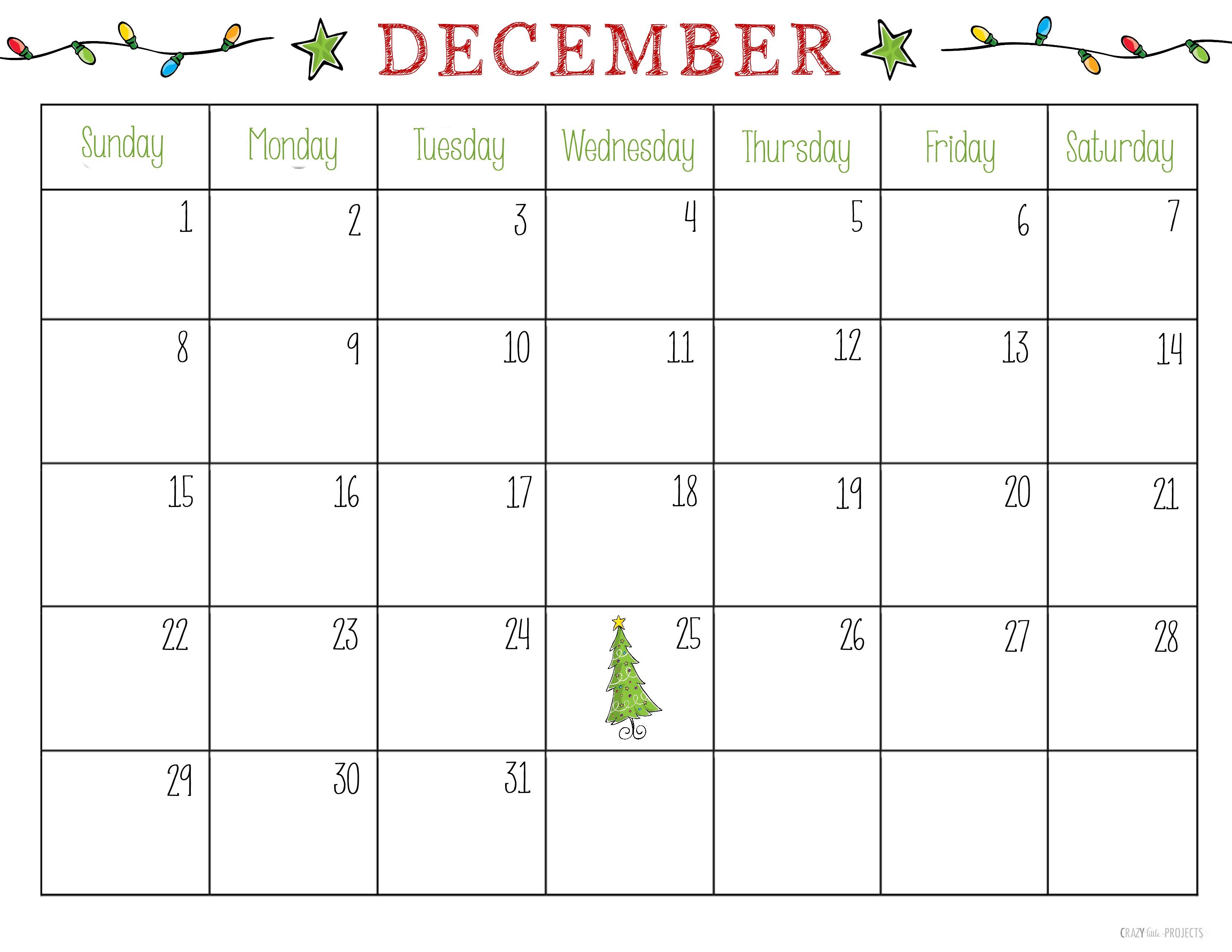 December Calendar 2018 Printable Editable Template within Christmas Calendar Printable Template