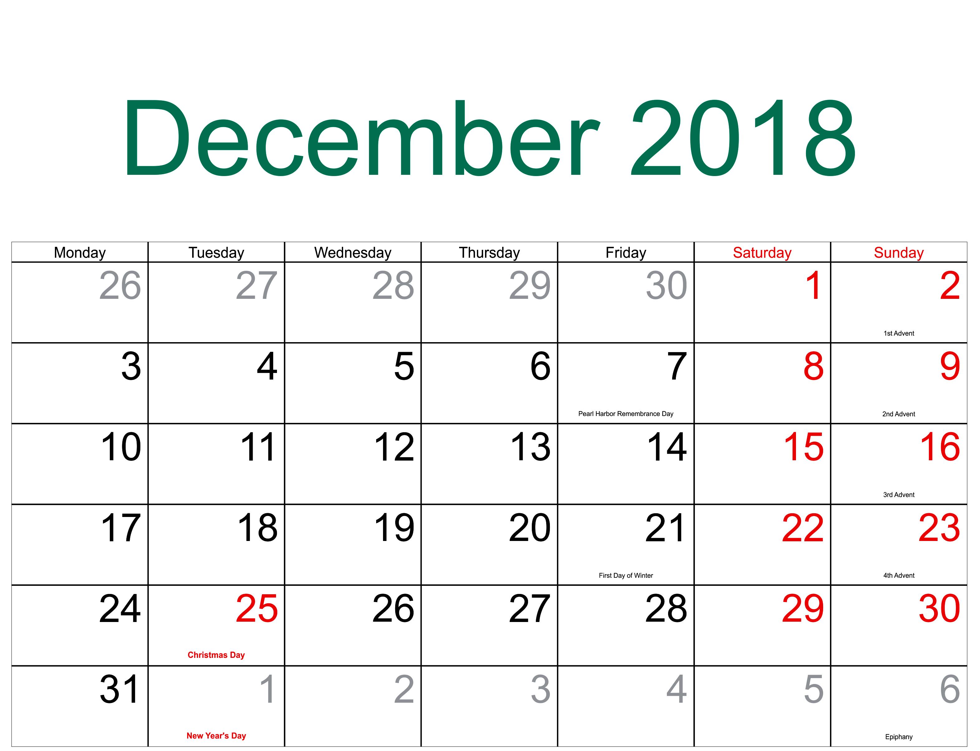 December Calendar 2018 With Holidays | December 2018 Calendar | July for Holidays Calendar Templates November