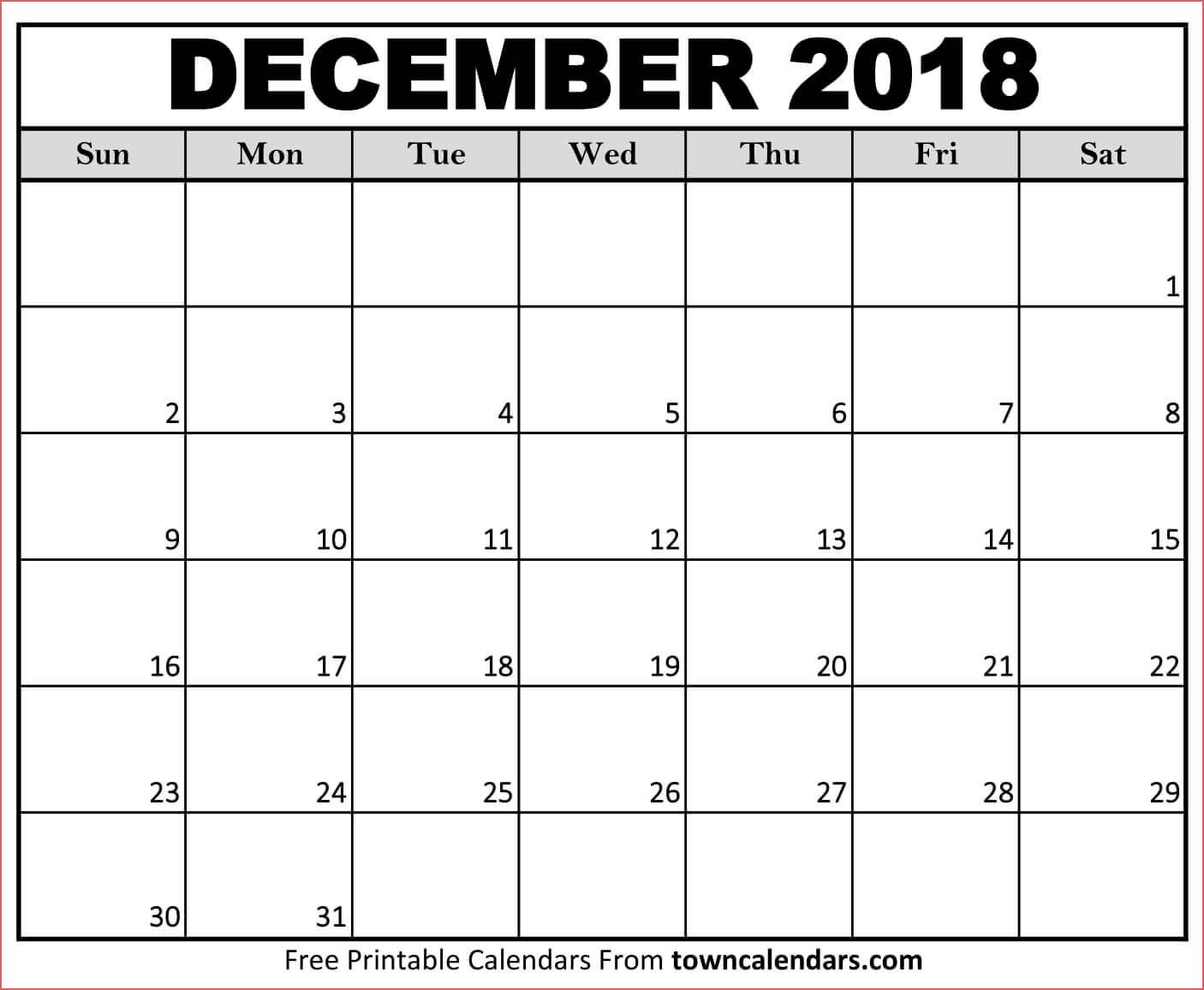 December Calendar Printable December 2018 Calendar Canada Printable inside Dec Calendar Printable Template