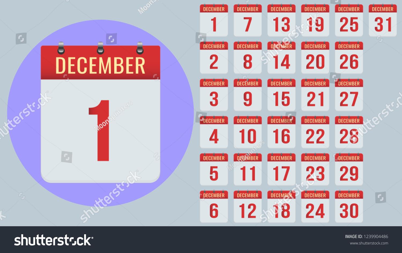 December Flat Daily Calendar Icon Set Stock Vector (Royalty Free regarding 2020 Calendar Time And Date