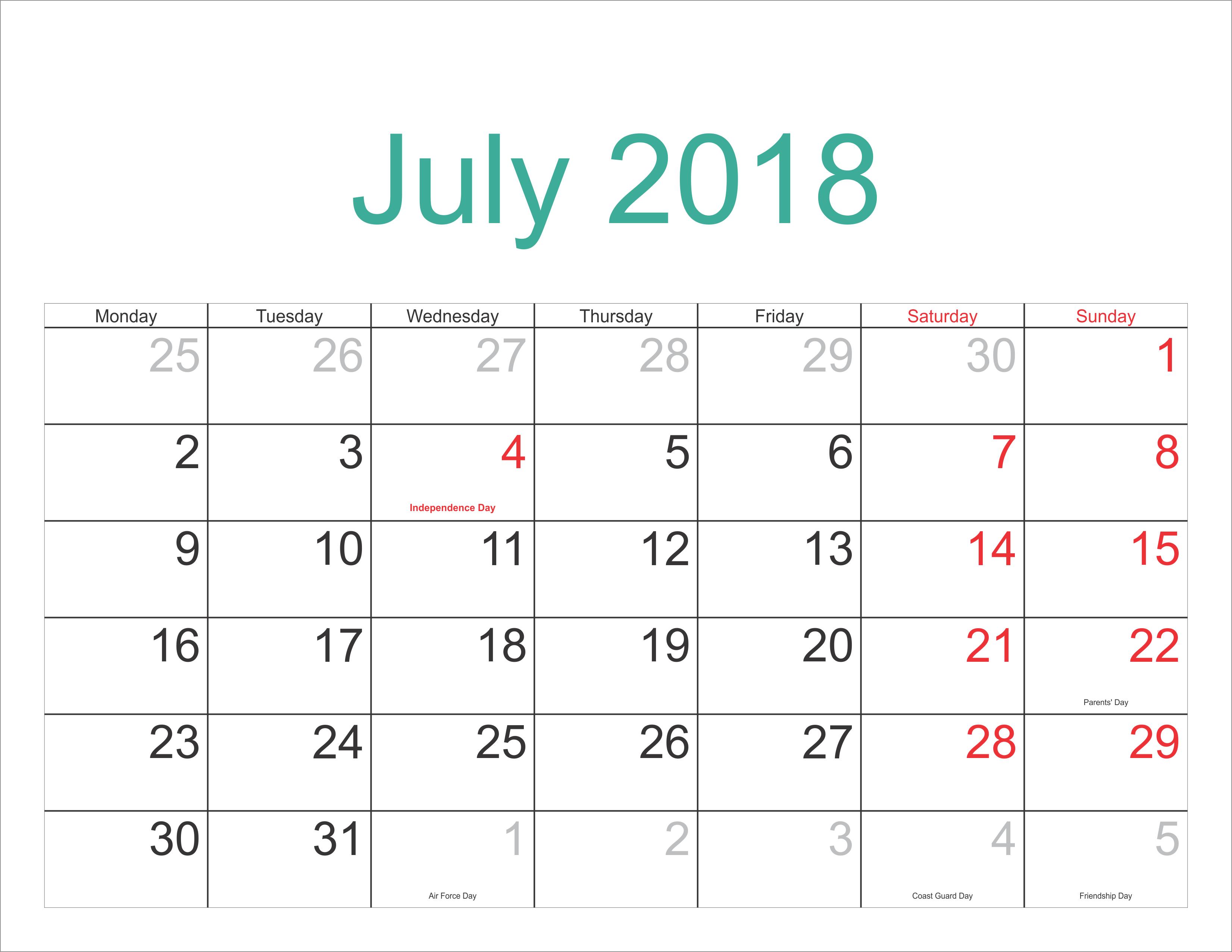 Decorative July 2018 Calendar, July 2018 Calendar Pdf, Word, Excel with Philippine Blank July Calendar Printable