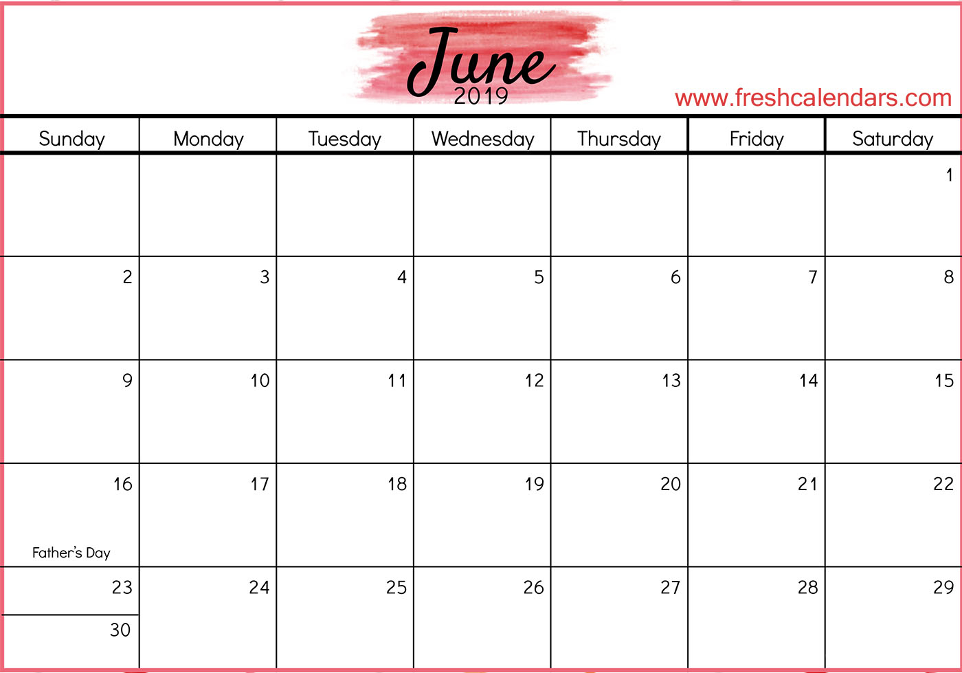Decorative June 2019 Calendar Pdf Page Excel Word Floral Wallpaper intended for Cute Calendar Templates July
