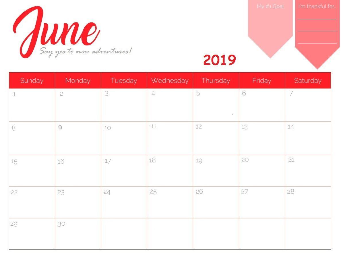 Decorative June 2019 Calendar Pdf Page Excel Word Floral Wallpaper intended for Decorative Printable Calendar Templates
