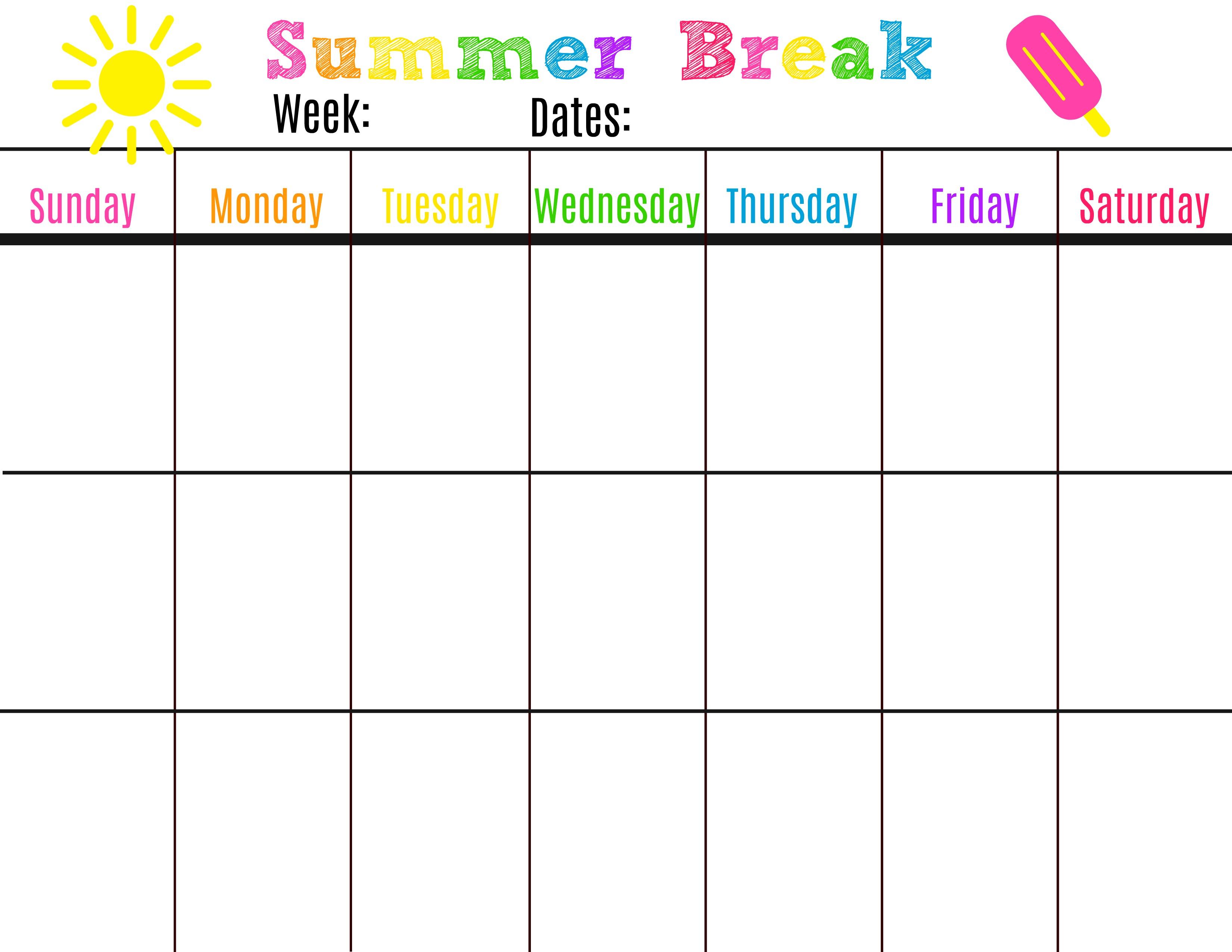 Denver Summer Diaries - Sharing Our Fun Summer Adventures Around regarding Summer Schedule Template For Kids
