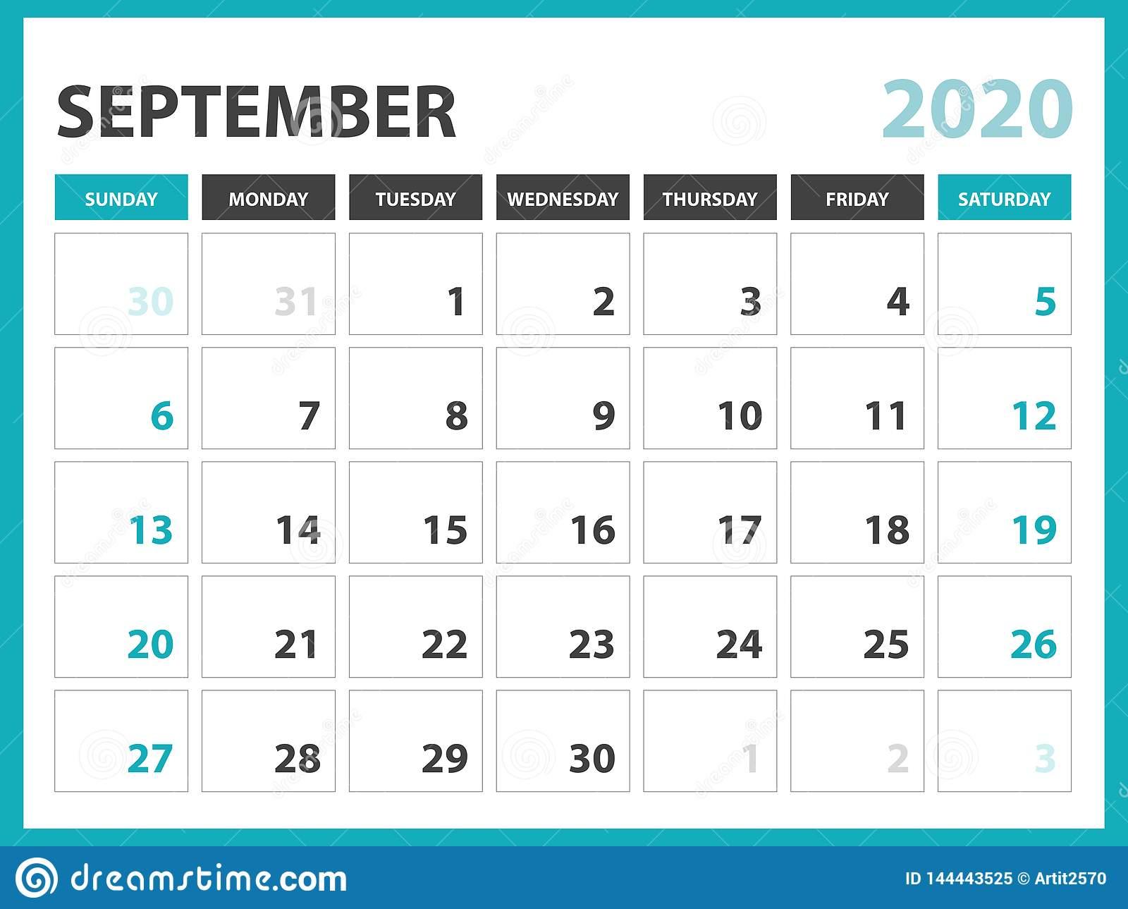 Desk Calendar Layout Size 8 X 6 Inch, September 2020 Calendar with regard to 10 X 8 Planner Template
