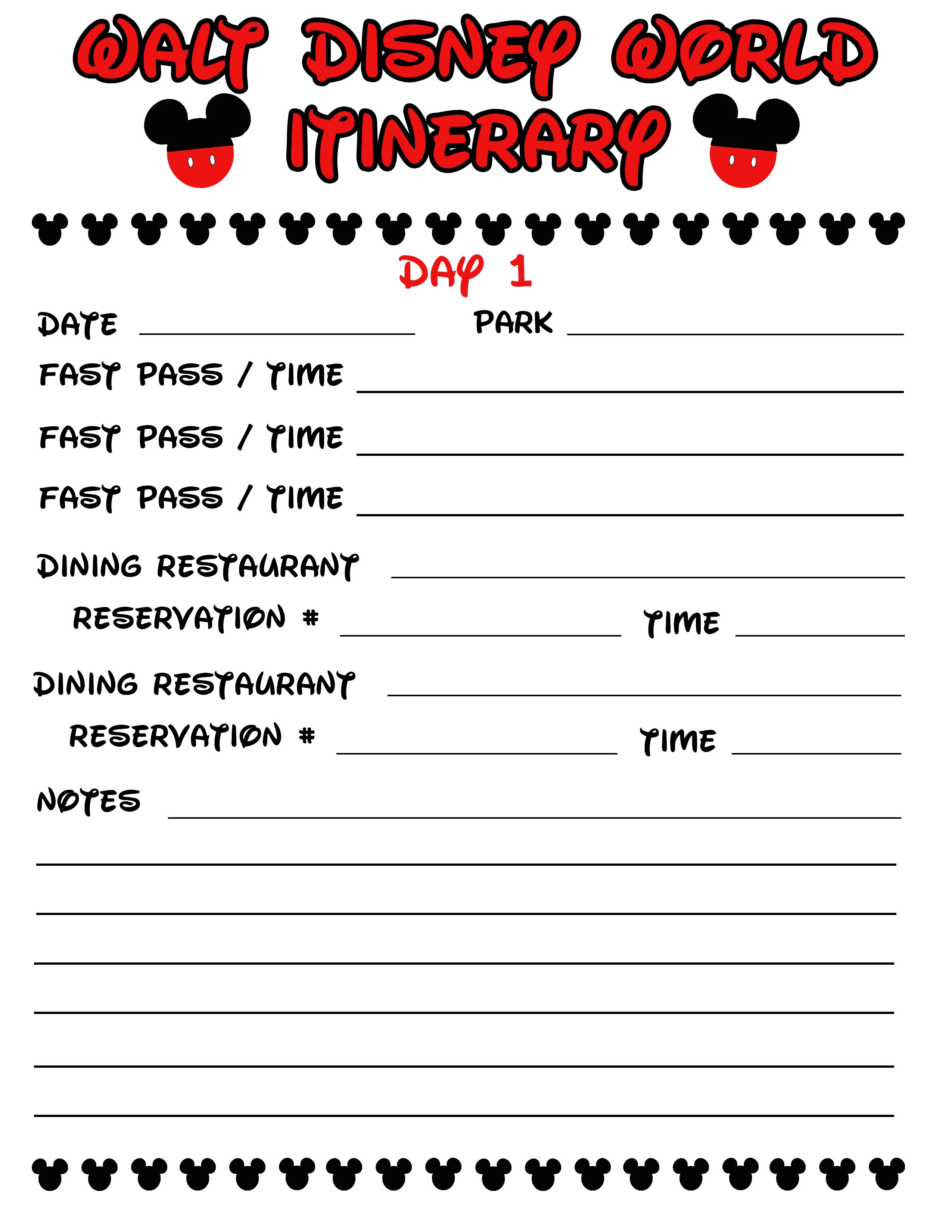 Disney Agenda & Itinerary Free Printable | Disney | Disney Planner within Disney World Itinerary Template Blank