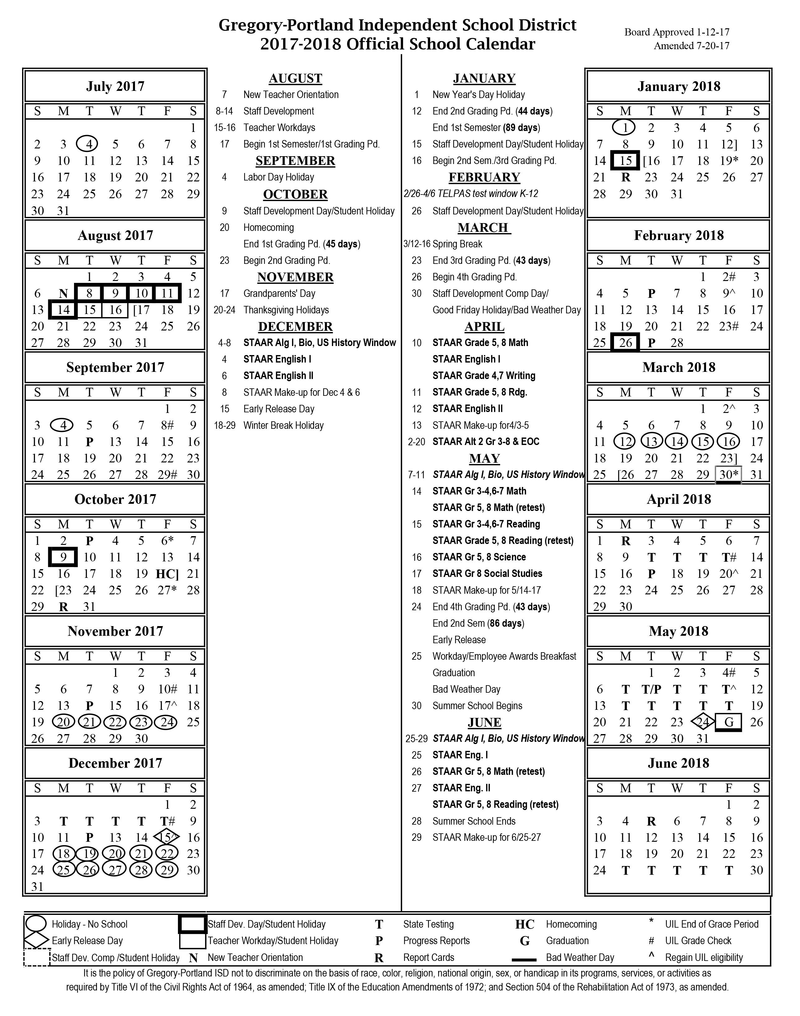 District Calendar, 2017-18 - Gregory-Portland Independent School with Stephen F Austin 2019 2020 Calendar