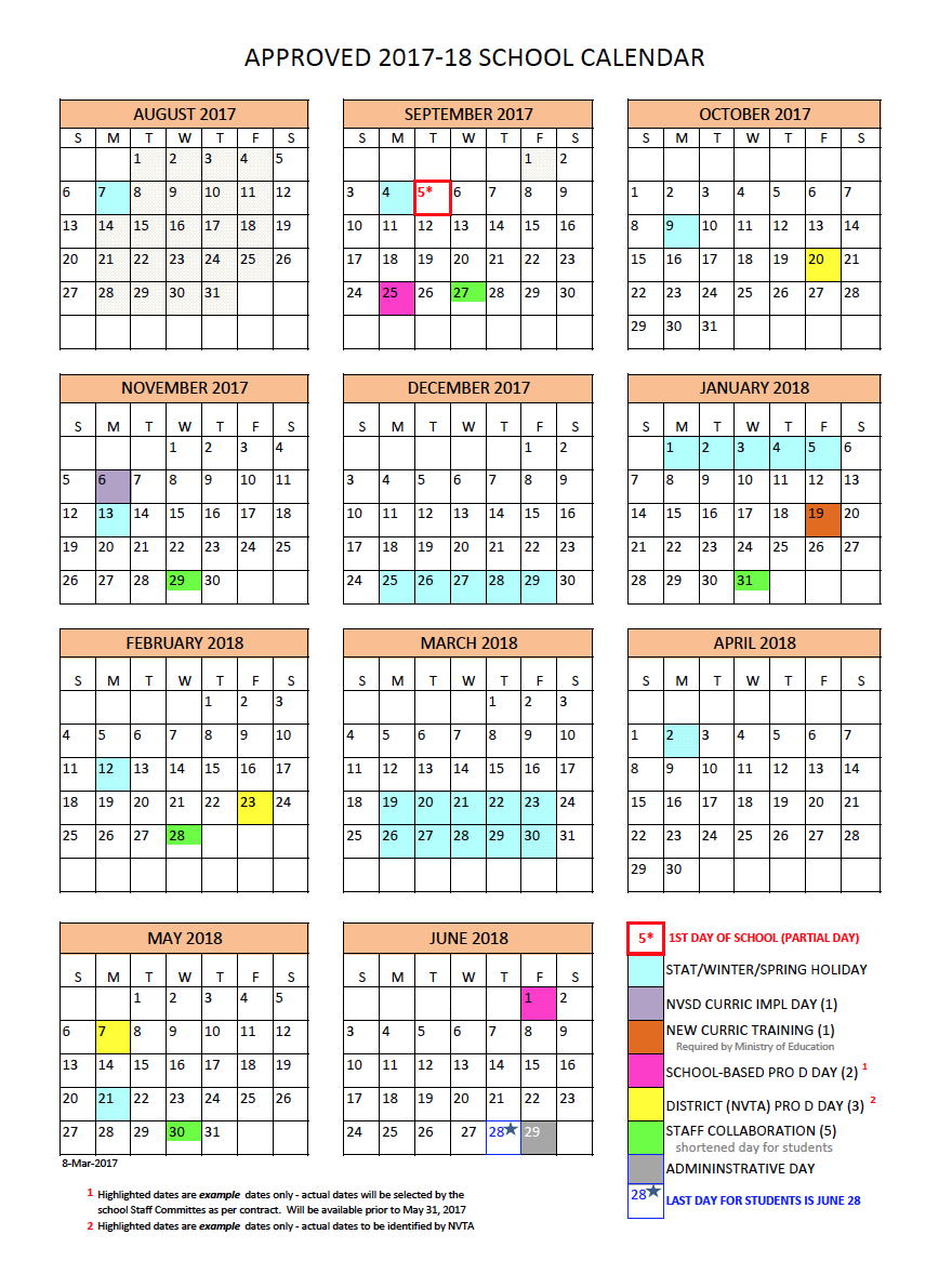 District Calendar - North Vancouver School District regarding 2020 Calendar Time And Date