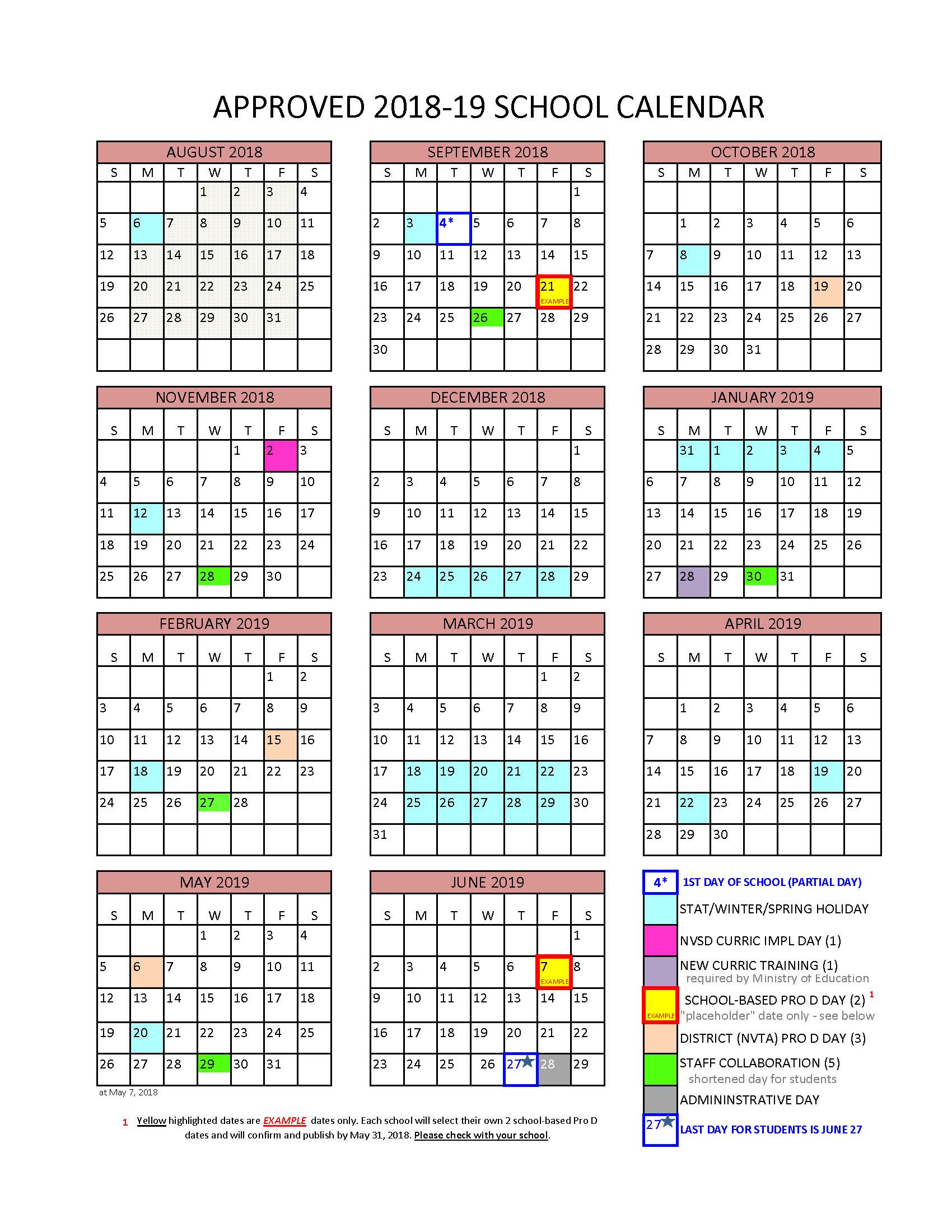 District Calendar - North Vancouver School District with U Of R Calendar 2019-2020