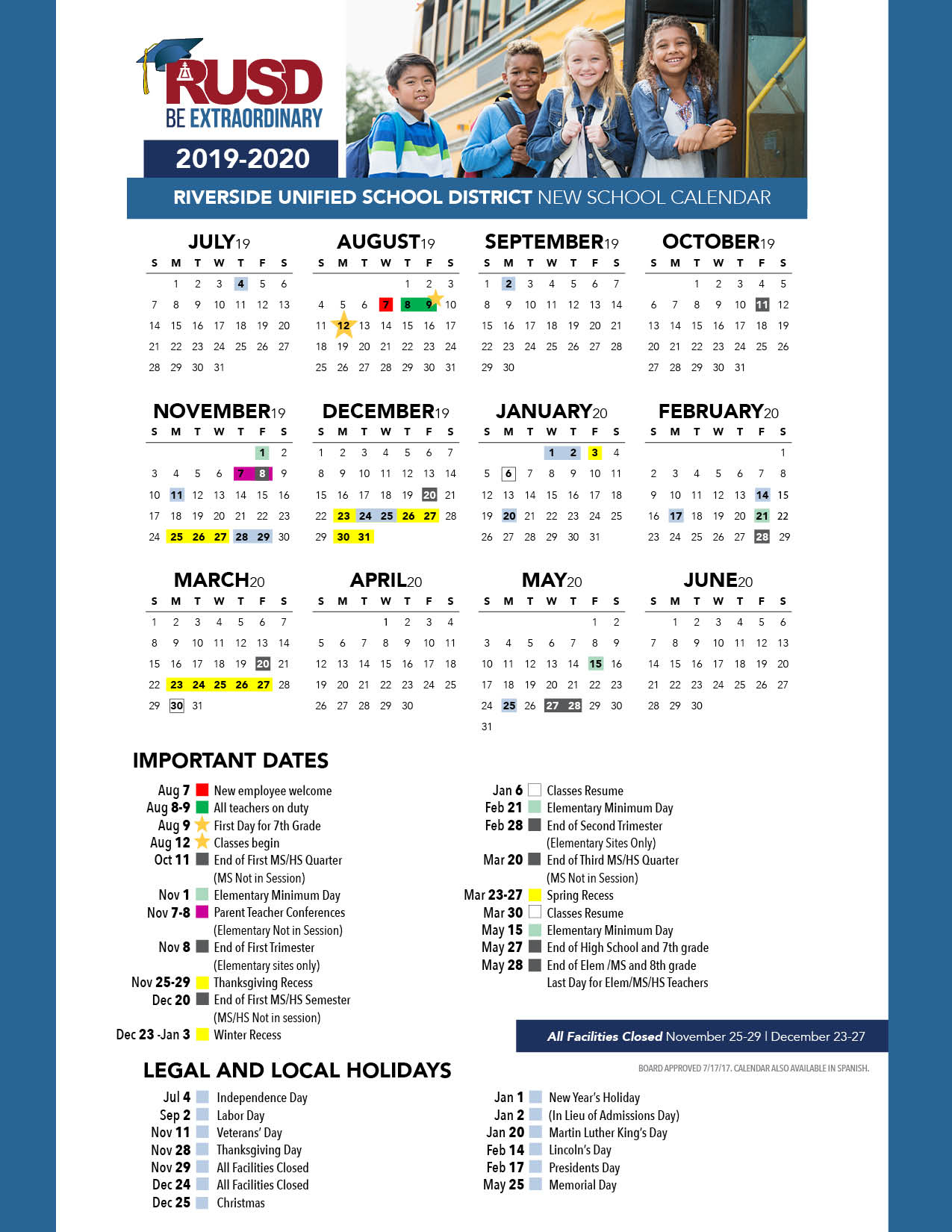 District Calendar - Riverside Unified School District pertaining to 2029 2020 Year At A Gllance Calendar