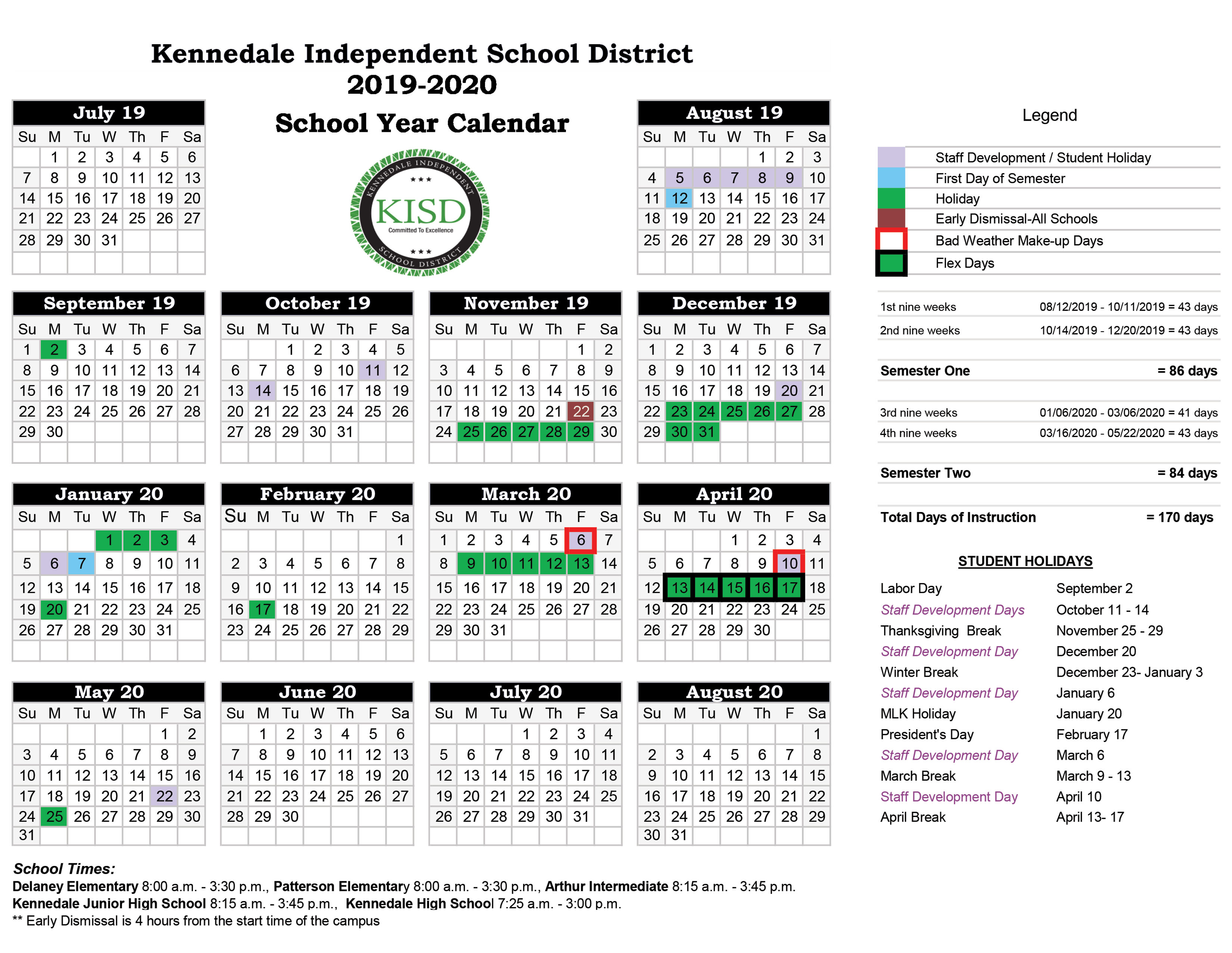 District Calendars / District Calendars regarding Calendar With Special Days 2020