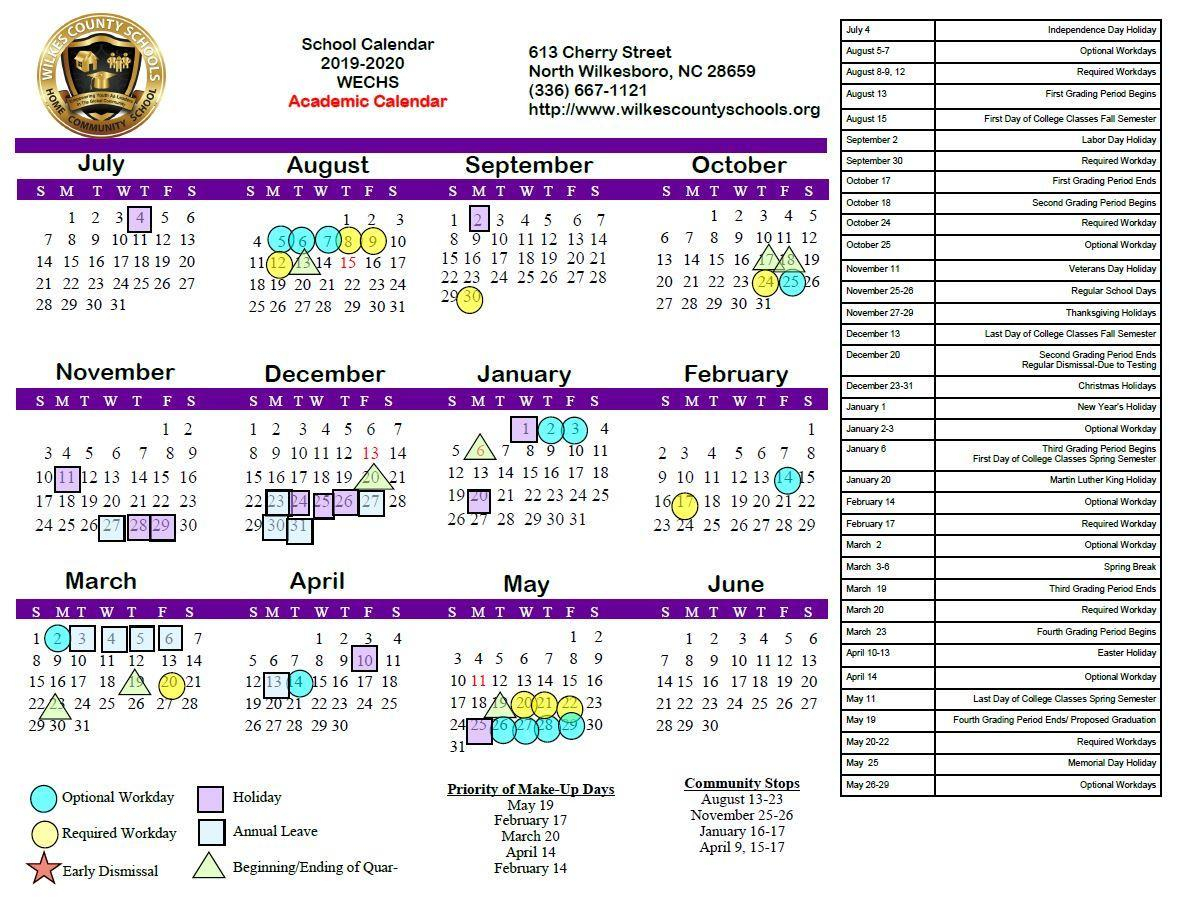 District Calendars – District – Wilkes County Schools for U Of M Calendar 2019-2020 School Year