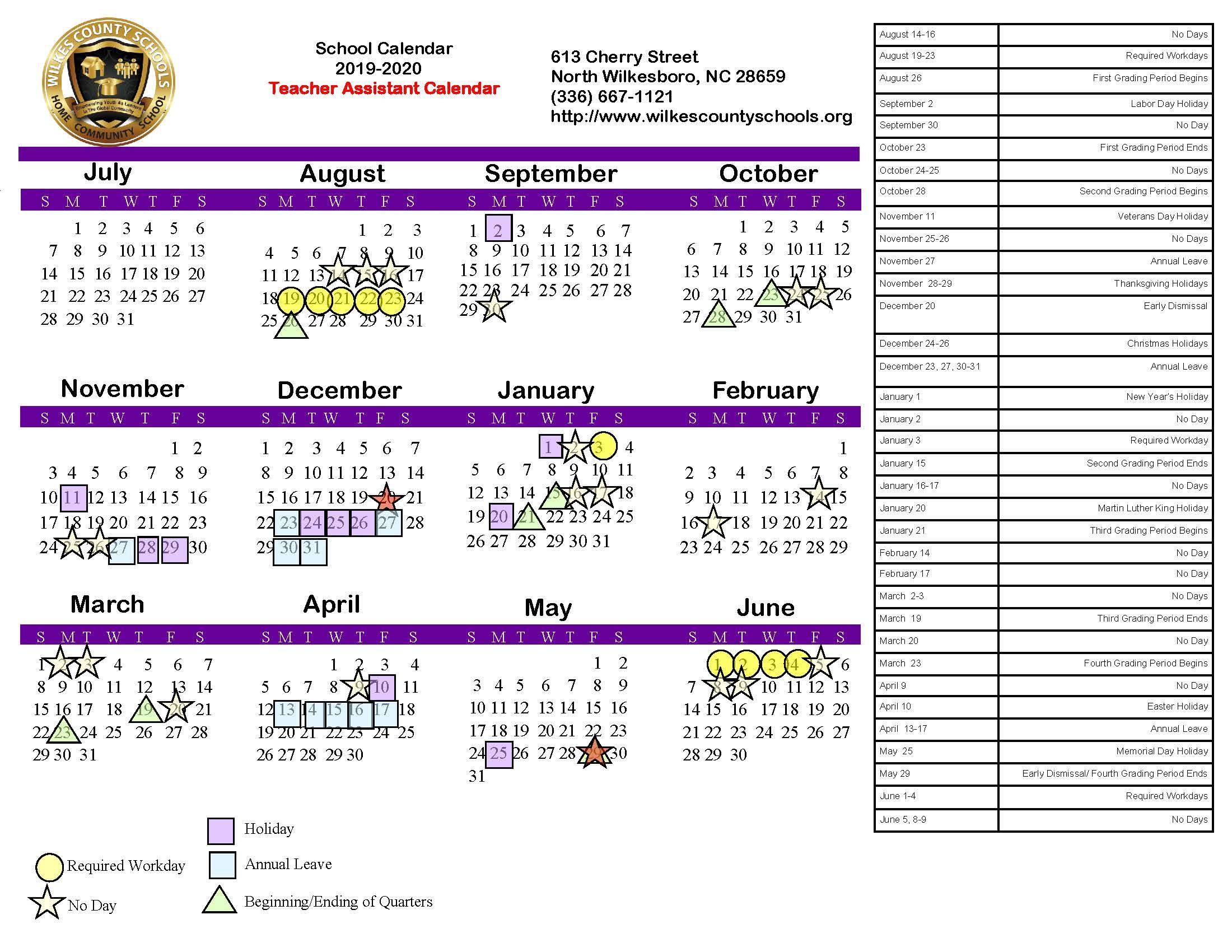 District Calendars – District – Wilkes County Schools intended for U Of M School Year 2019-2020