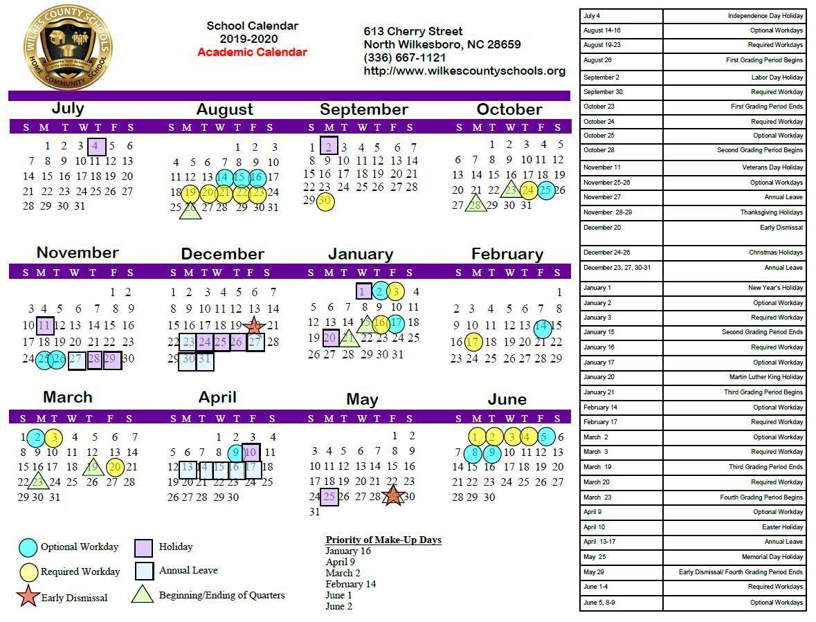 District Calendars – District – Wilkes County Schools throughout U Of M Calendar 2019-2020 School Year