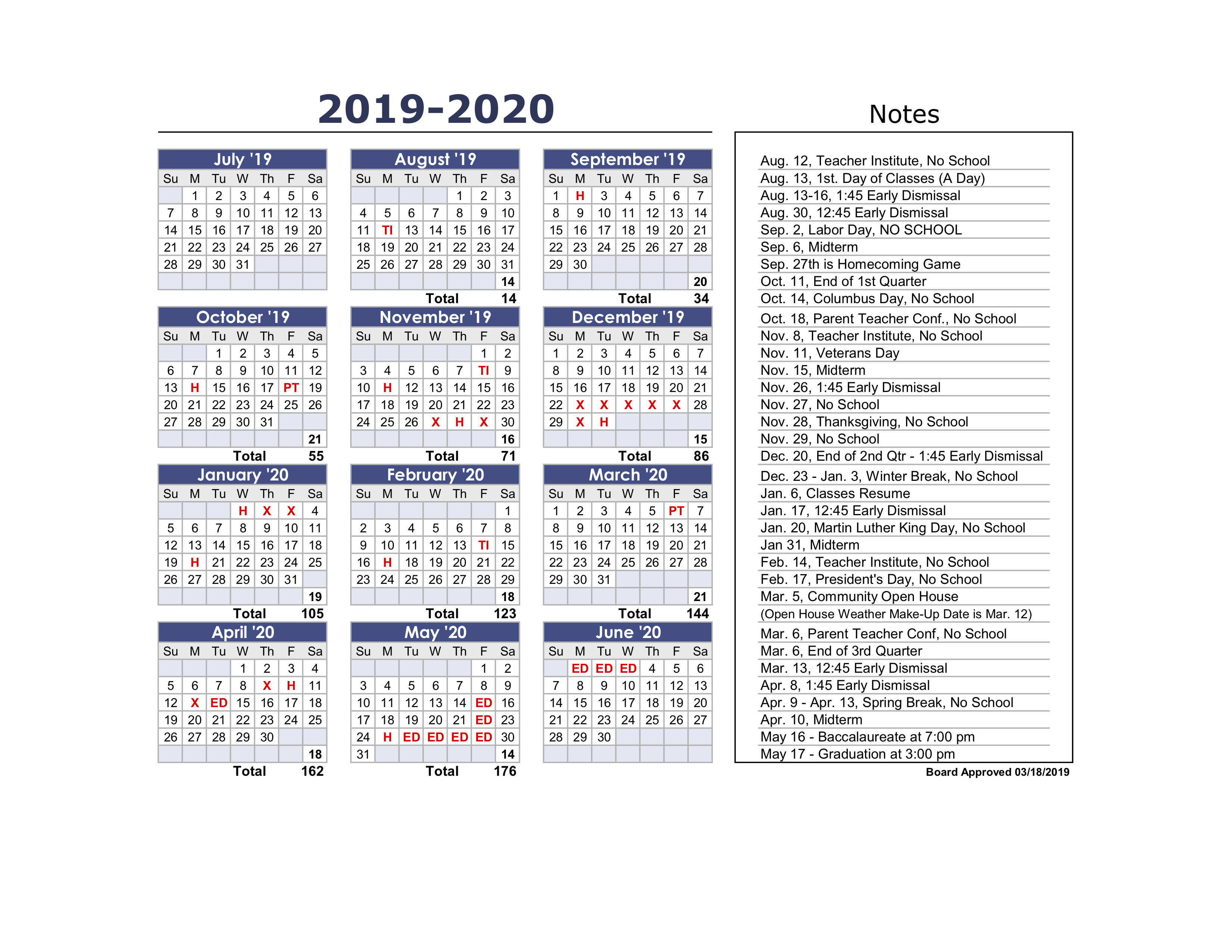 District in Calendar For 2019 And 2020 To Edit