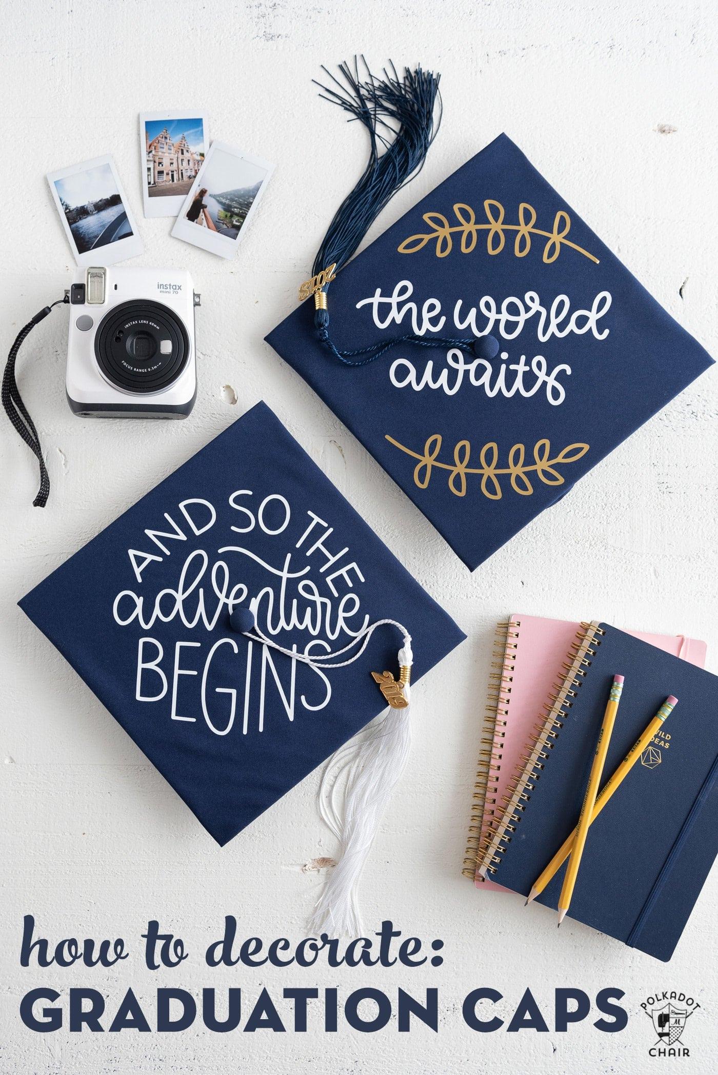 Diy Graduation Cap Decorating Ideas Using Cricut Iron-On | The Polka with Blank Graduation Advice Sheets