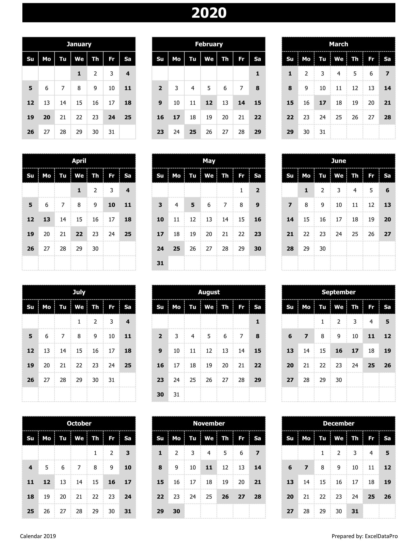 Download 2020 Yearly Calendar (Sun Start) Excel Template - Exceldatapro in Employee Attendance Calendar 2020 Prntable
