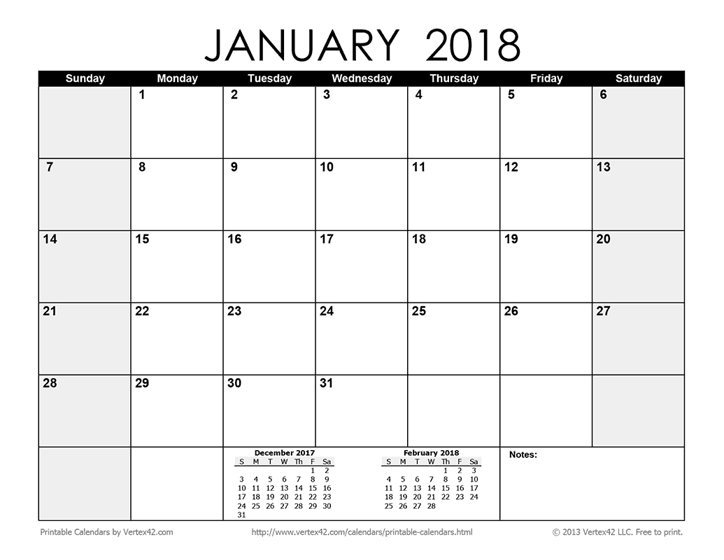 Download A Free Printable Monthly 2018 Calendar From Vertex42 pertaining to Editable 2015 Monthly Calendar Template