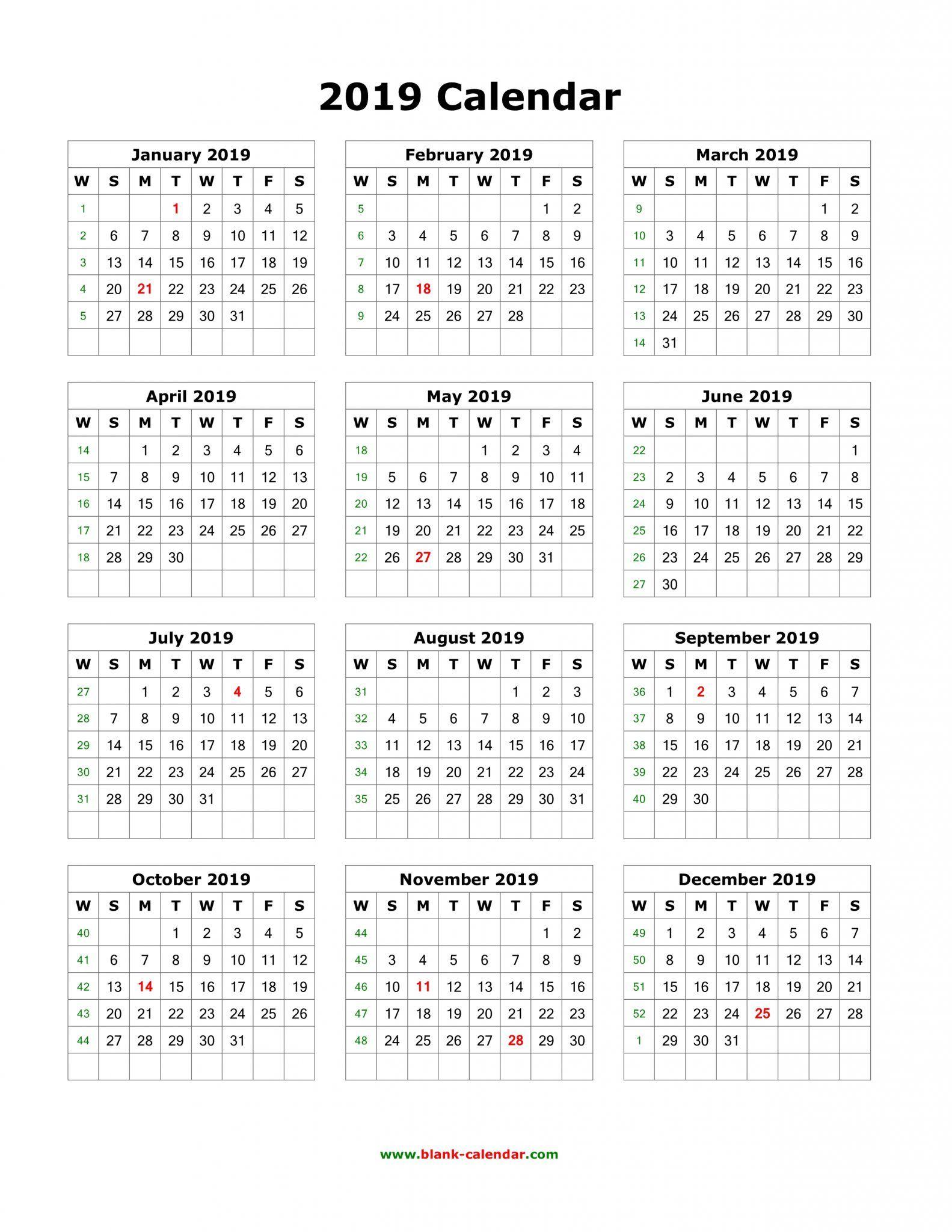 Download Blank 2019 Calendar Templates | 12 Month Calendar In One inside Blank 4 Week Calendar Printable