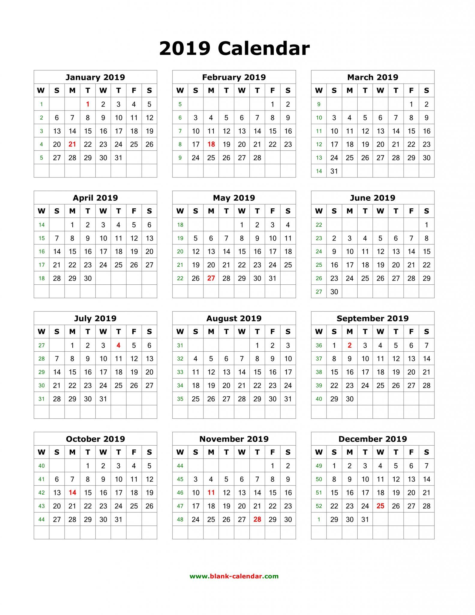 Download Blank 2019 Calendar Templates | 12 Month Calendar In One with 12 Month Monthly Calendar Template Printable