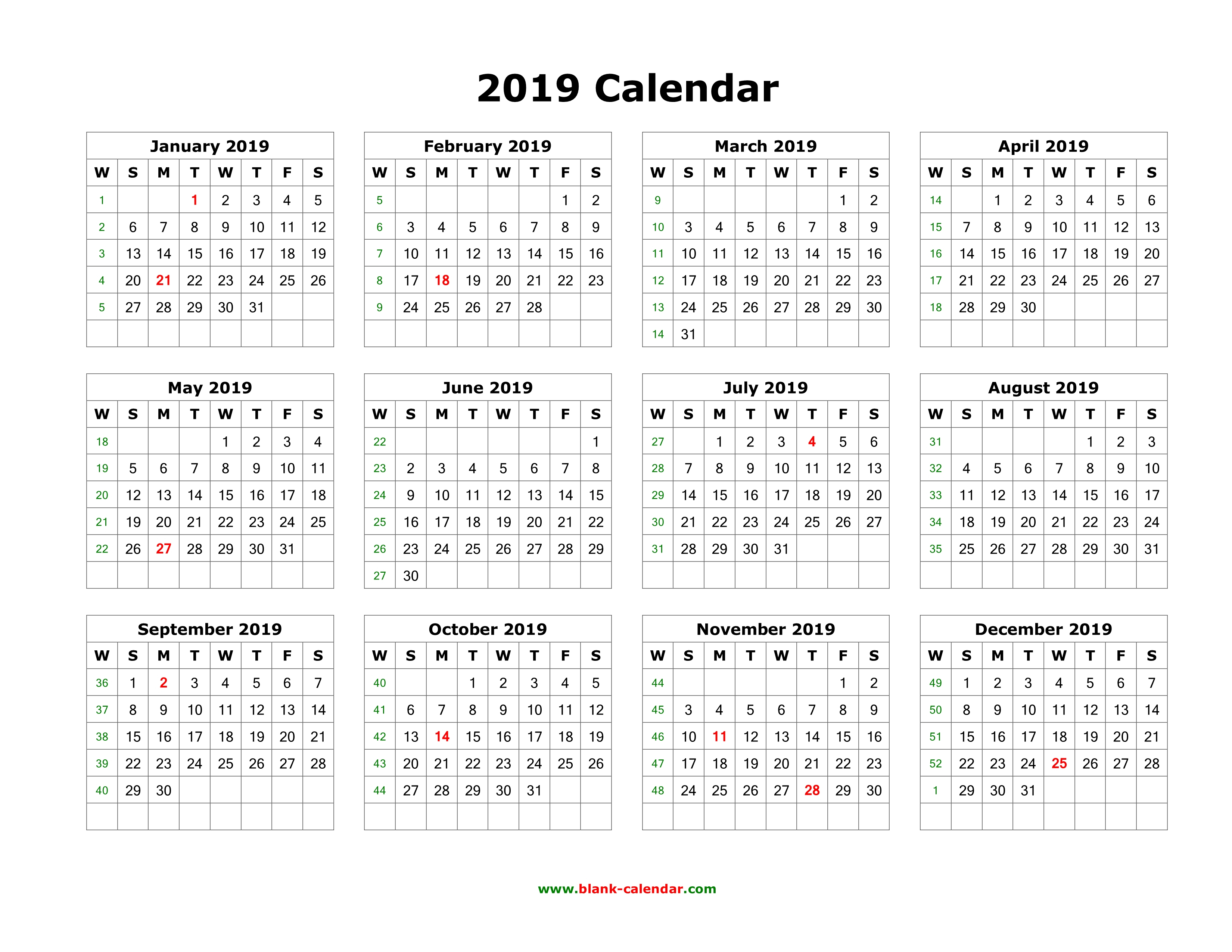 Download Blank Calendar 2019 (12 Months On One Page, Horizontal) pertaining to Monthly Calendar Templates 12 Months