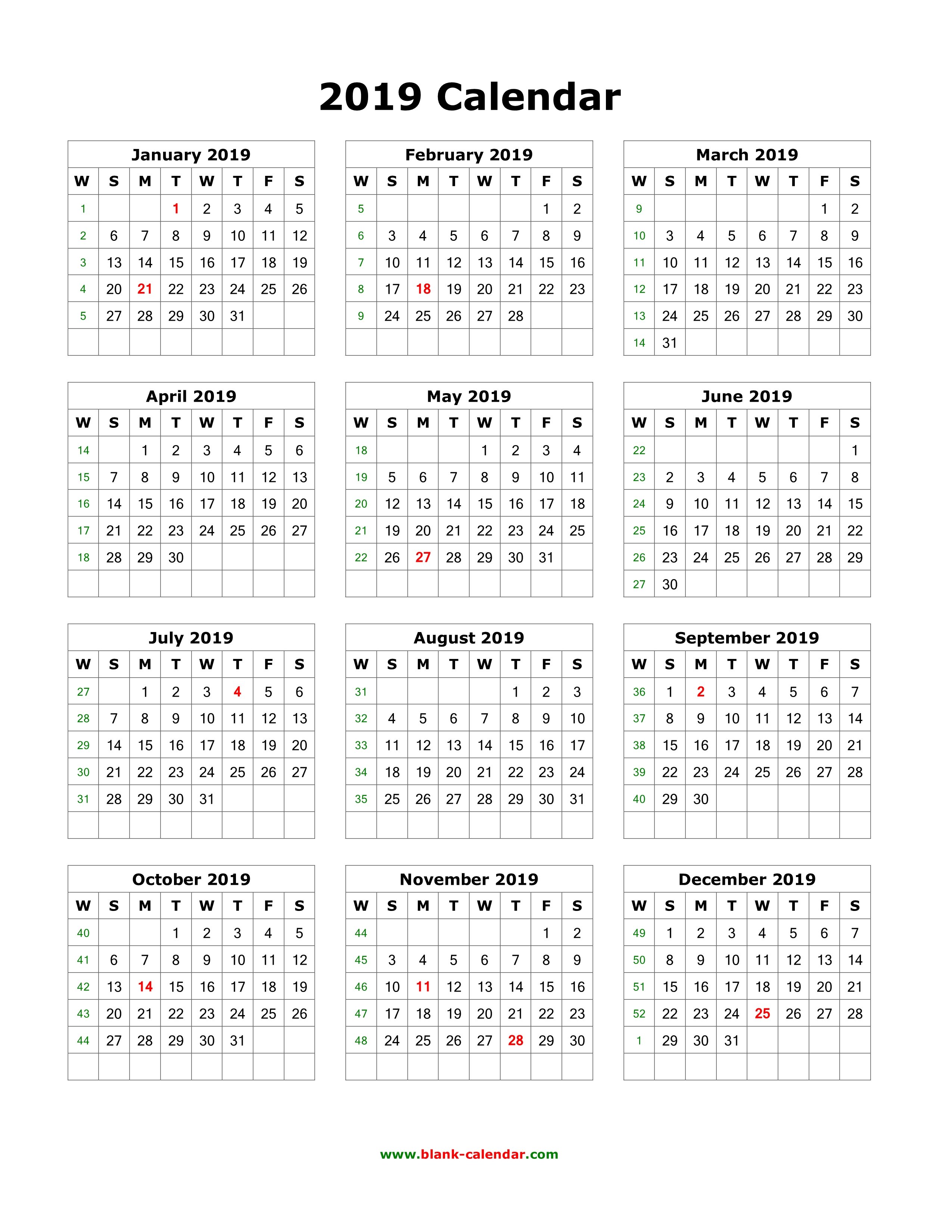Download Blank Calendar 2019 (12 Months On One Page, Vertical) with regard to 7 Day Week Blank Calendar Printable
