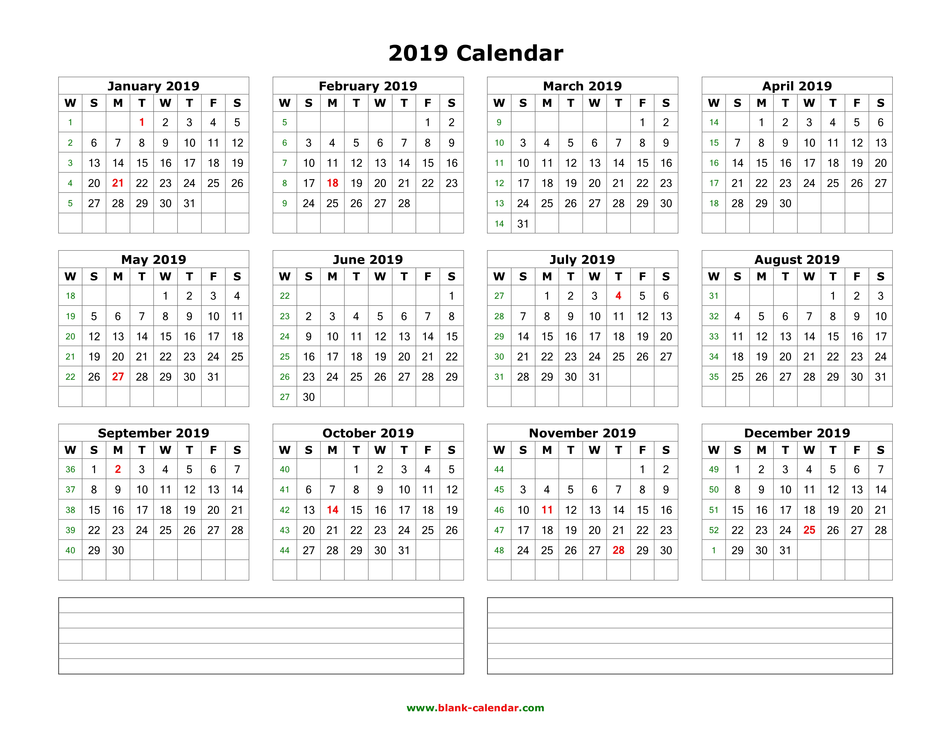 Download Blank Calendar 2019 With Space For Notes (12 Months On One pertaining to Monthly Calendar Templates 12 Months