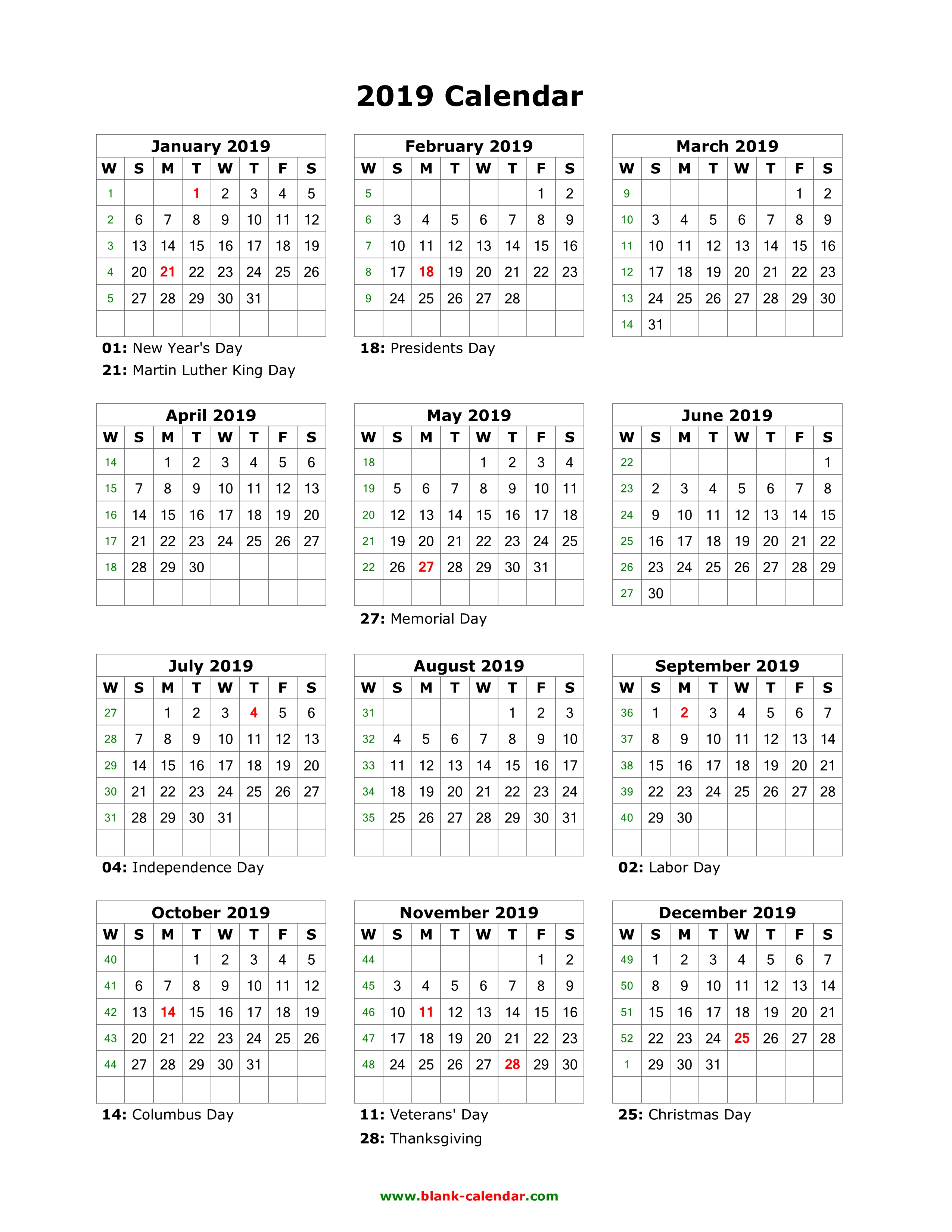 Download Blank Calendar 2019 With Us Holidays (12 Months On One Page pertaining to Blank 12 Month Calender