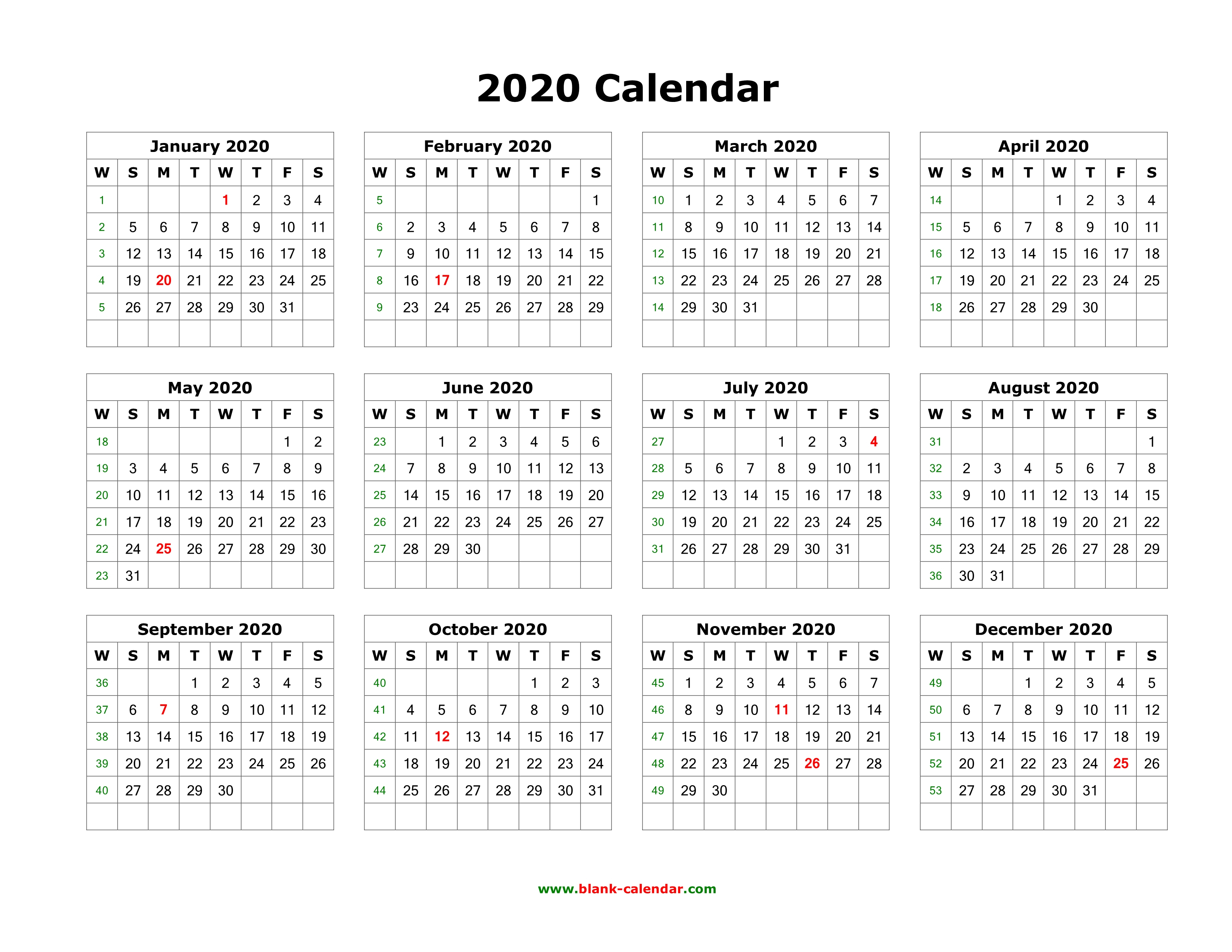 Download Blank Calendar 2020 (12 Months On One Page, Horizontal) regarding 2020 Calendar Printable One Page
