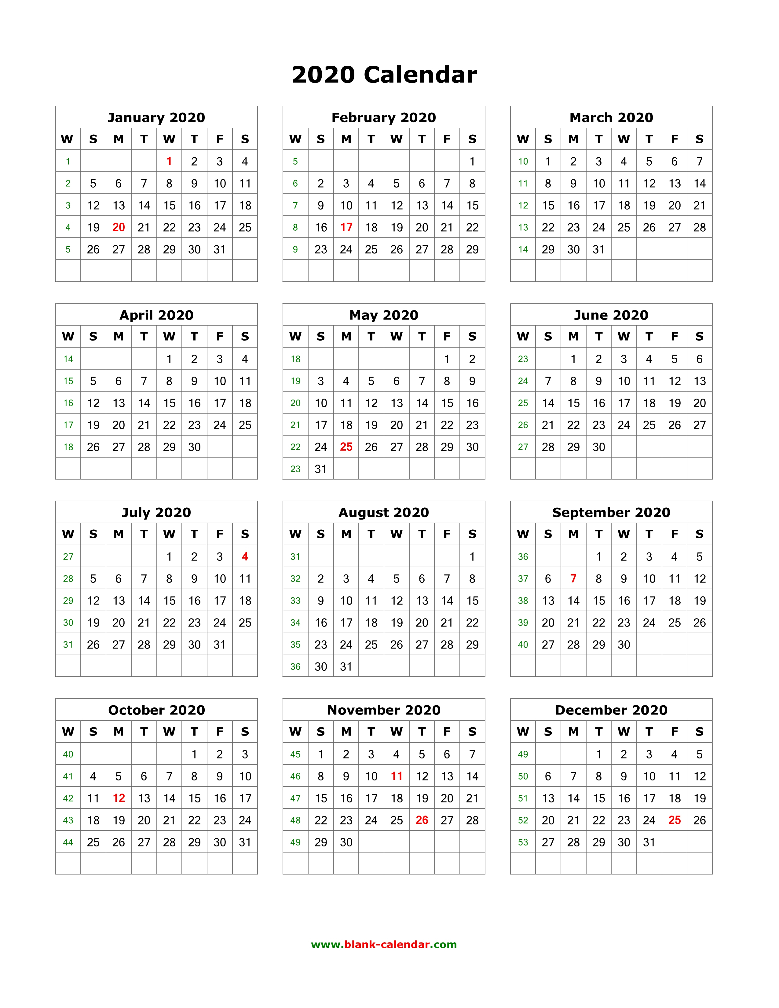 Download Blank Calendar 2020 (12 Months On One Page, Vertical) with 2020 Calendar Printable One Page