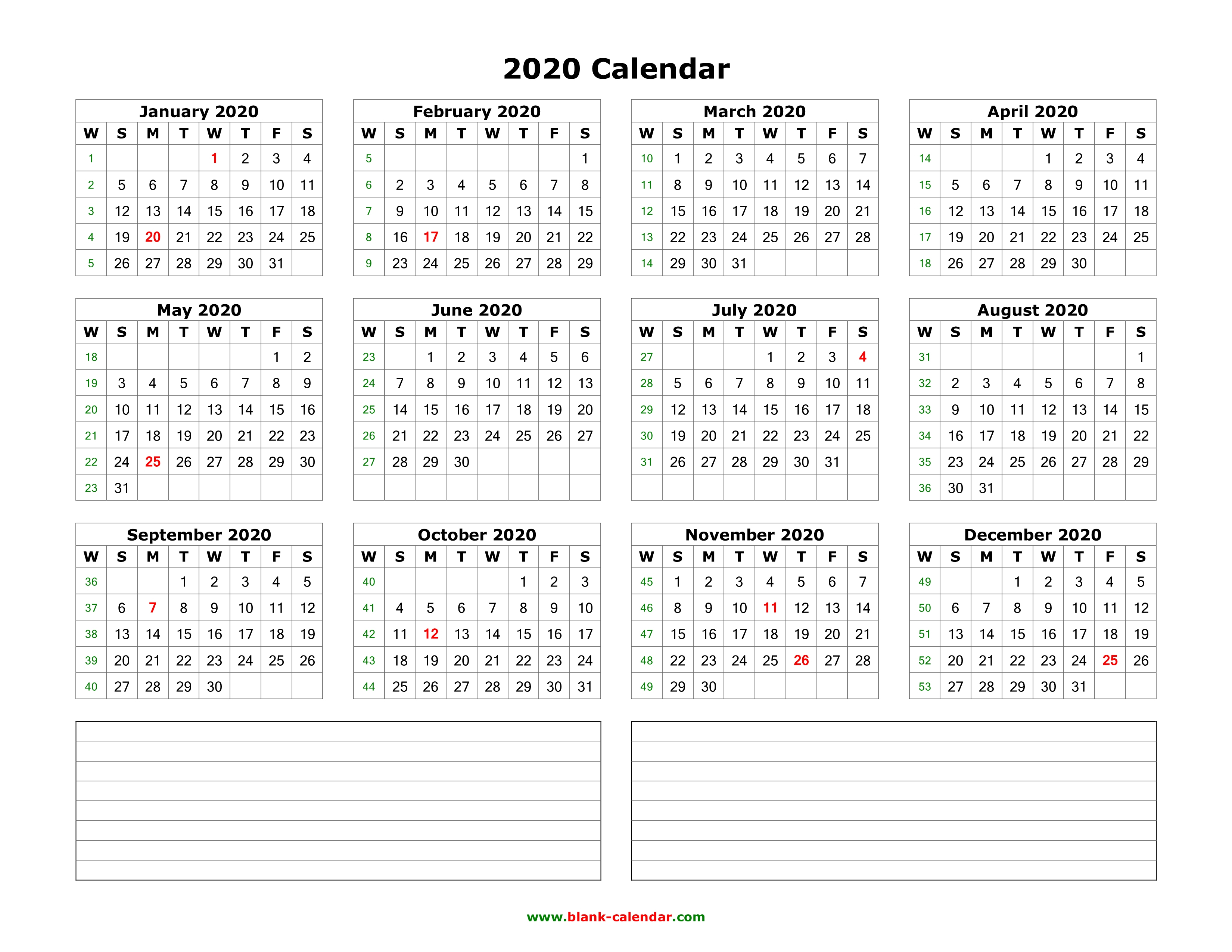 Download Blank Calendar 2020 With Space For Notes (12 Months On One in 2020 Calander To Write On