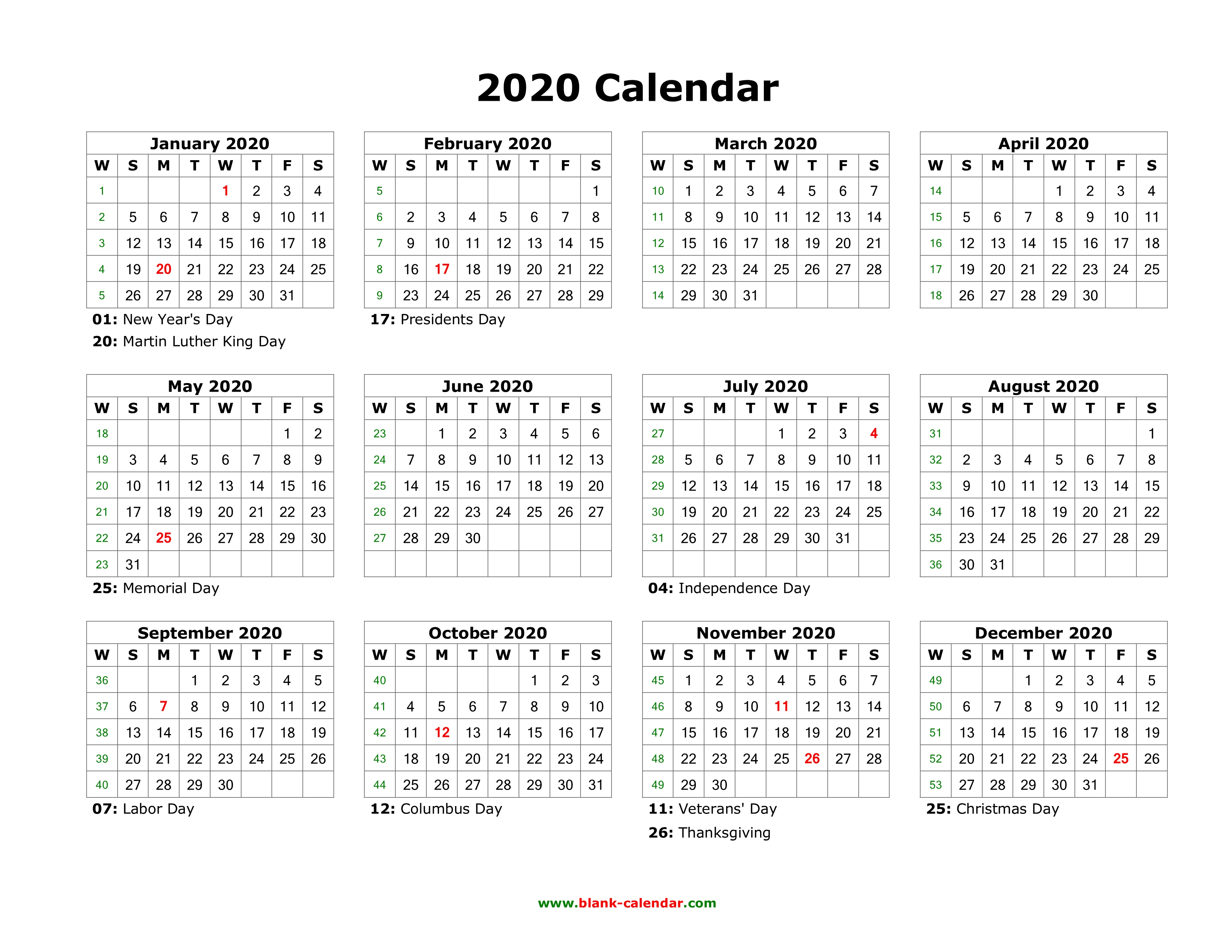 Download Blank Calendar 2020 With Us Holidays (12 Months On One Page with 2020 Calendar Printable One Page