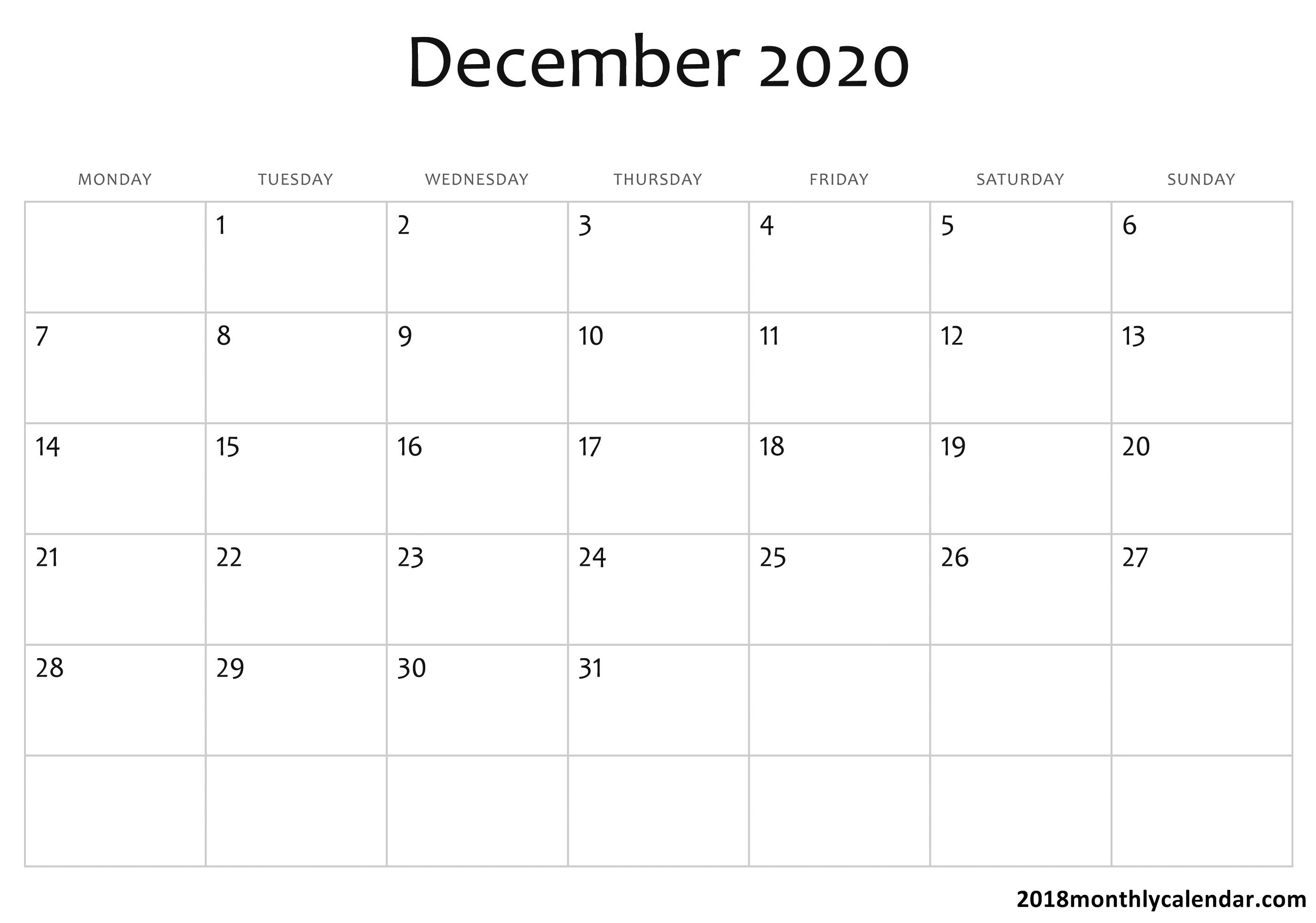 Download December 2020 Calendar – Blank & Editable pertaining to 2020 Calendar I Can Edit