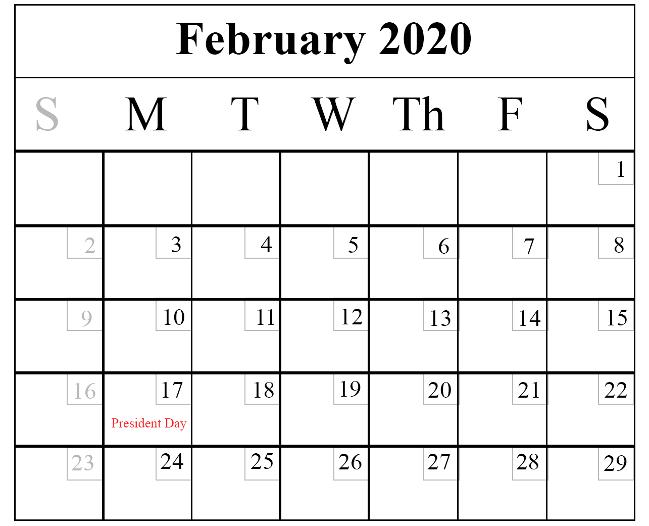 Download February 2020 Printable Calendar In Pdf,excel & Word for Free Printable 2020 Calendar With Space To Write
