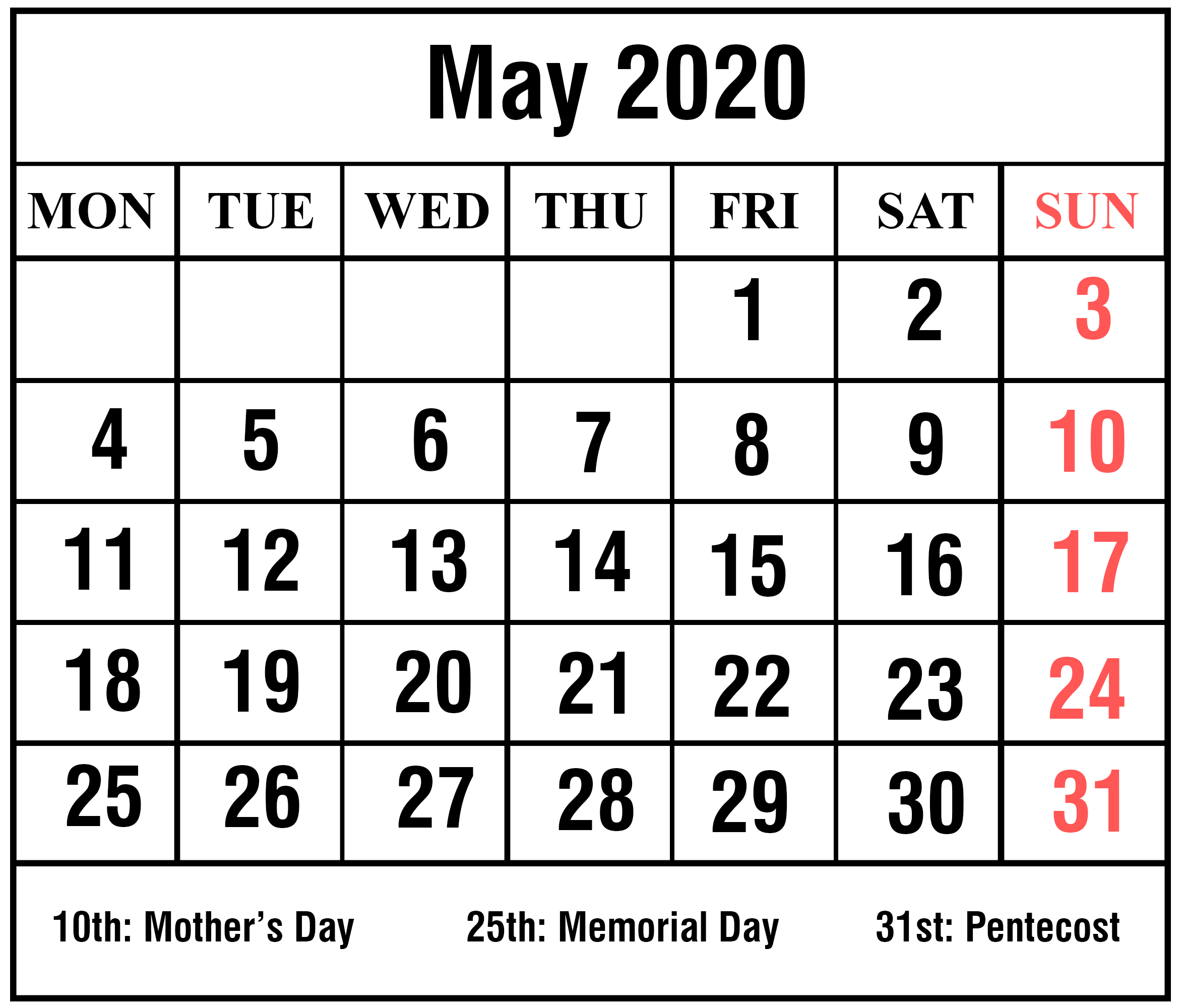 Download Free Blank May 2020 Printable Calendar [Pdf, Excel & Word intended for Print Free 2020 Calendars Without Downloading