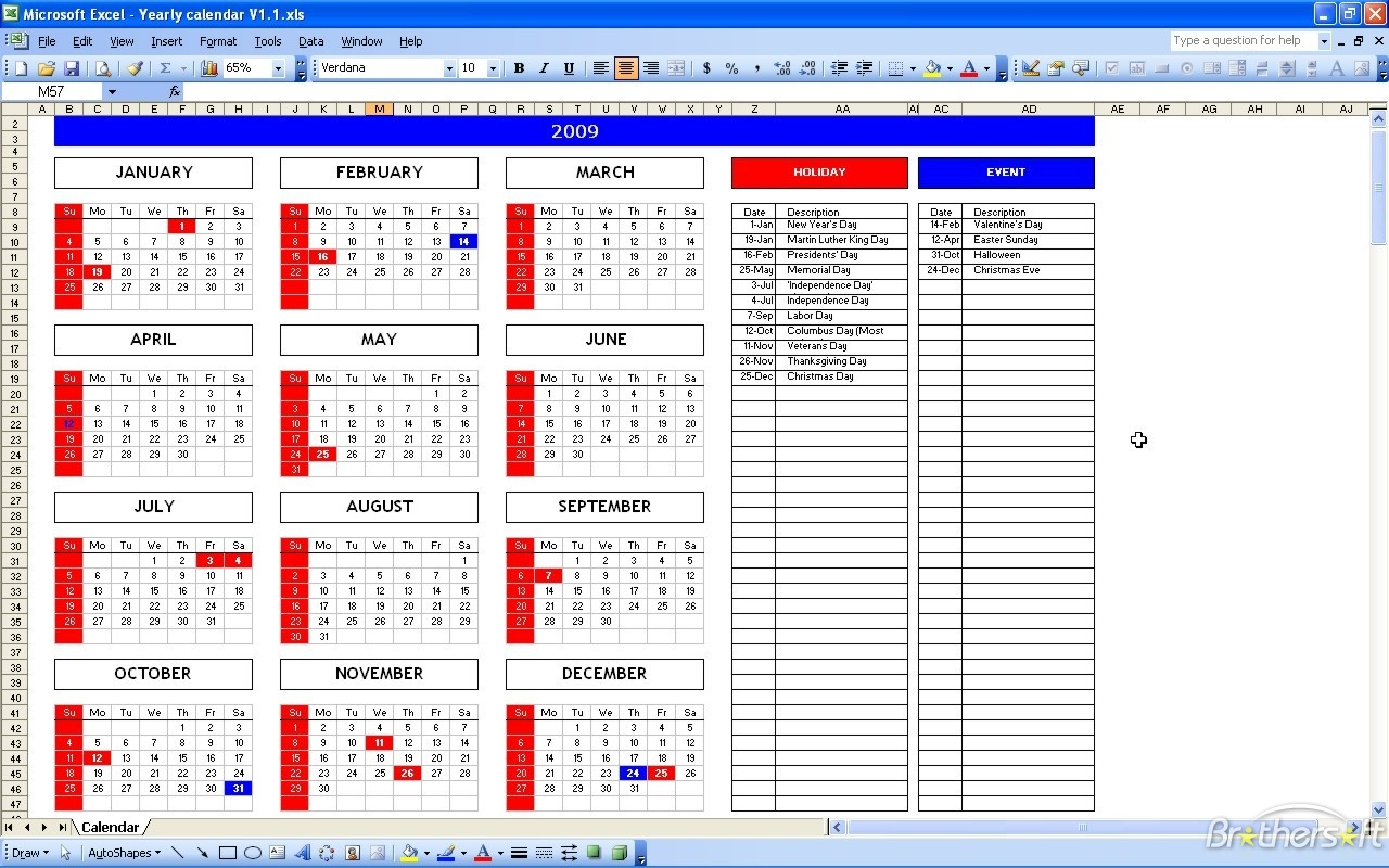 Download Free Excel Calendar Template, Excel Calendar Template 1.1 with regard to Yearly Event Calendar Template Excel