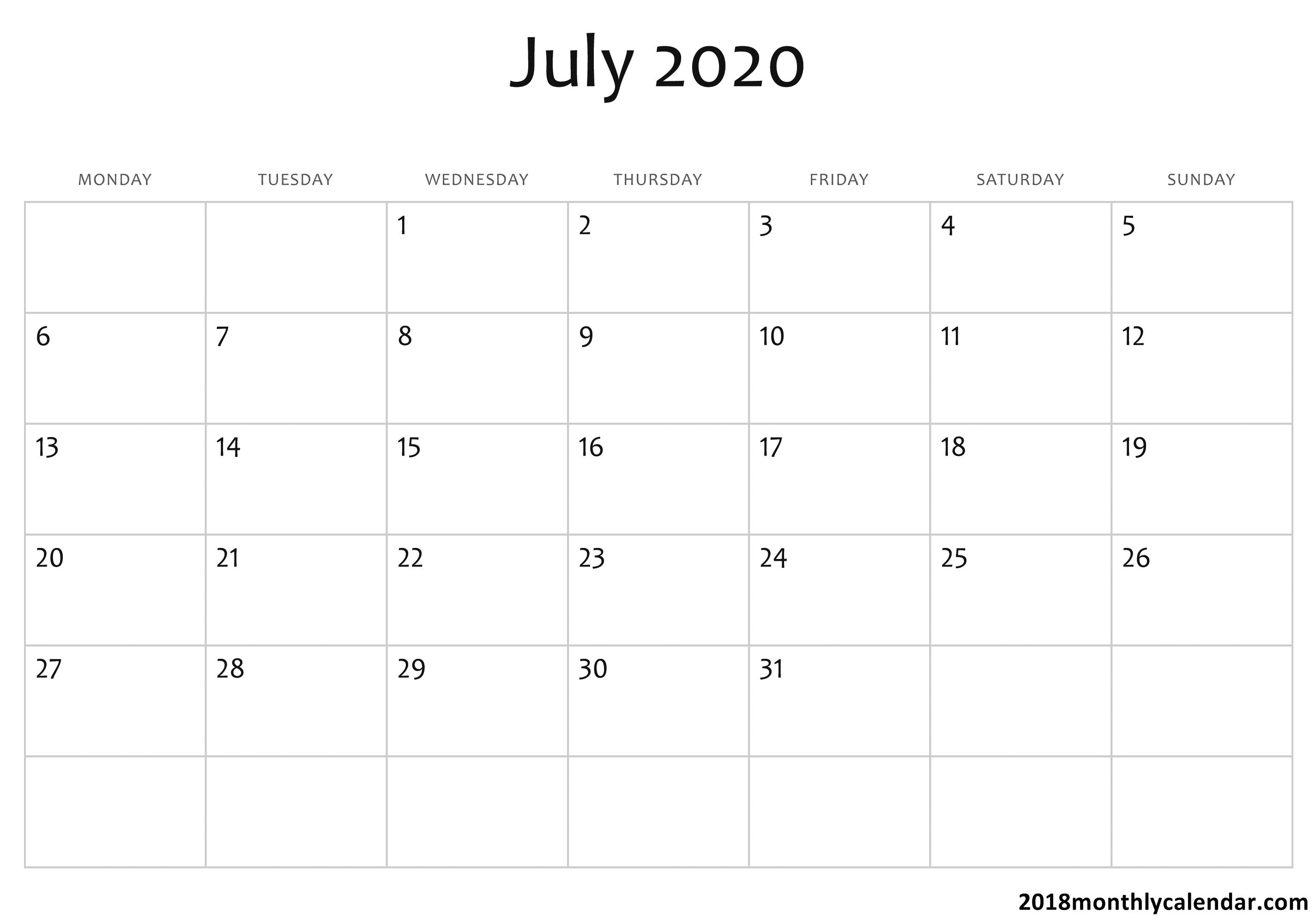 Download July 2020 Calendar – Blank & Editable inside 2020 Calender I Can Edit