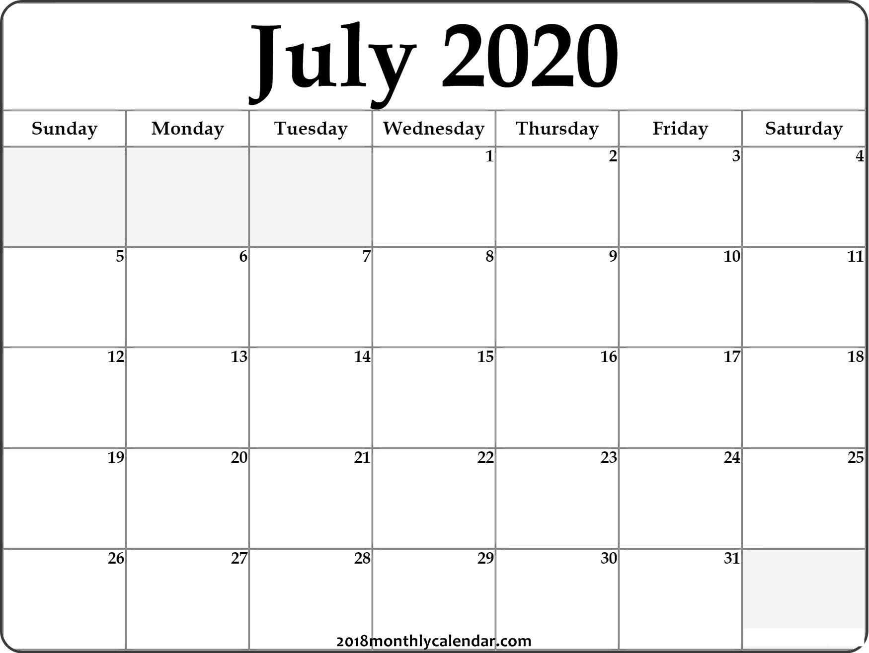 Download July 2020 Printable Calendar pertaining to Printable 2020 Calendar I Can Edit