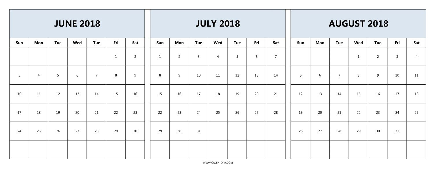 Download June July August 2018 Calendar Printable Free | 2018 intended for Blank June July August Calendar