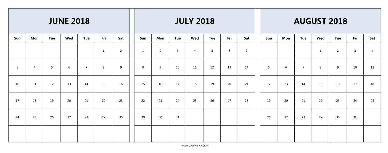 Download June July August 2018 Calendar Printable Free | 2018 with Blank Calendar June July