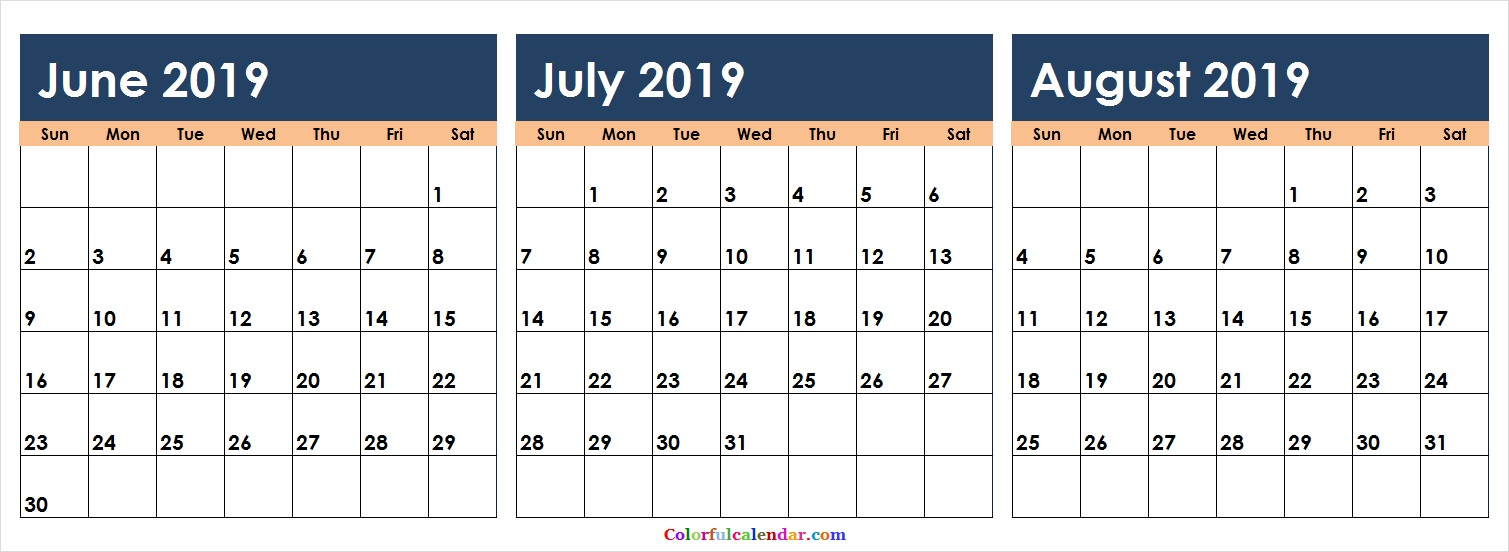 Download June July August 2019 Calendar Colorful | 2018 Calendar with regard to Blank August Colorful Calendar