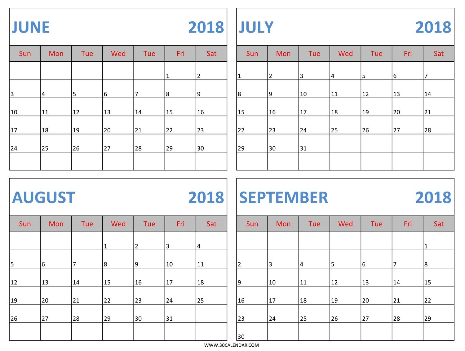 Download June July August September 2018 Calendar Template In Excel intended for Printable Blank Calendar July And August