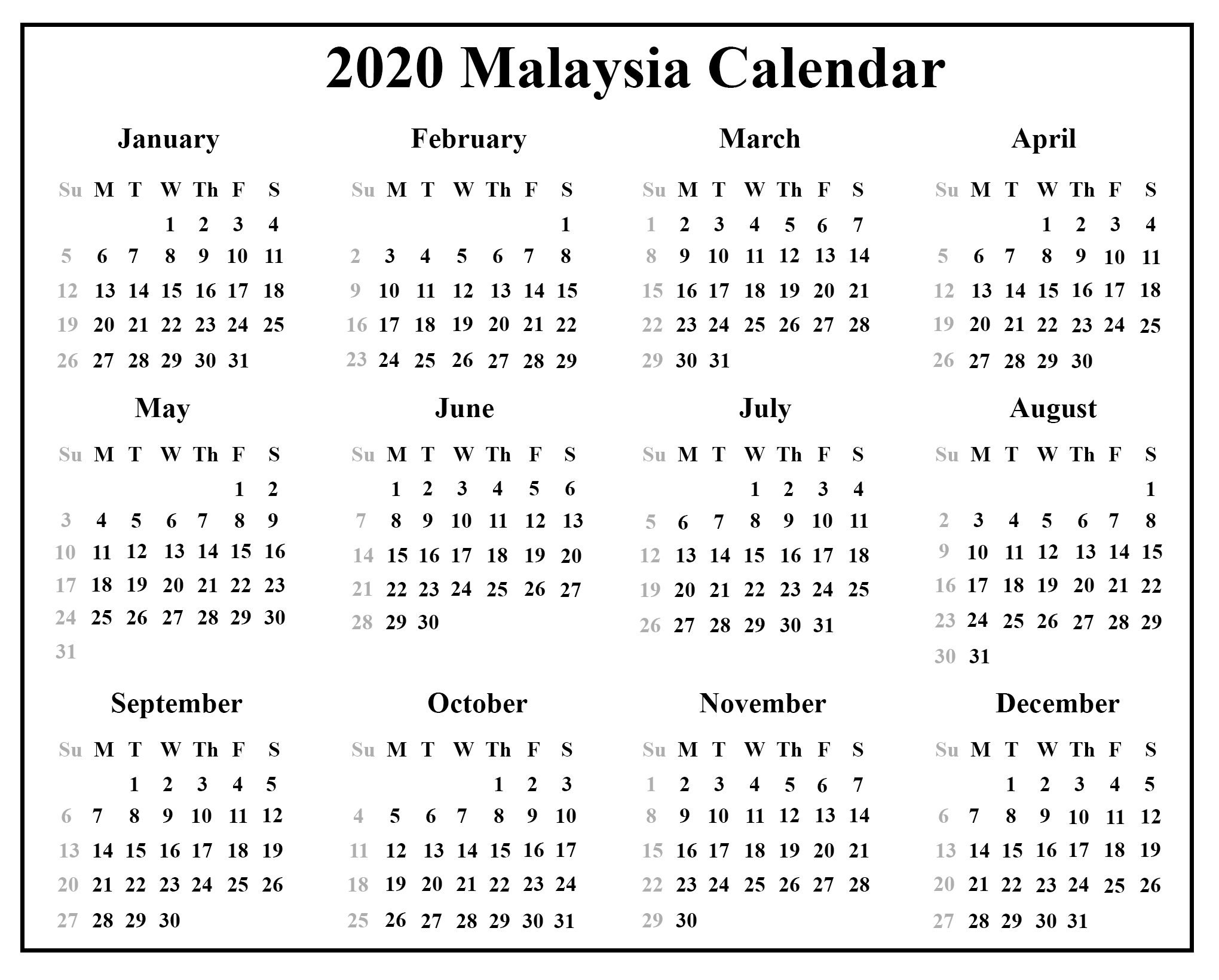 Download Malaysia Calendar 2020 {Pdf & Excel & Word} | Printable in Printable 2020 Calendars No Download